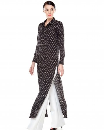 Black Brown Printed Dress With Slit