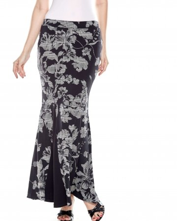 Black Printed Mermaid Skirt