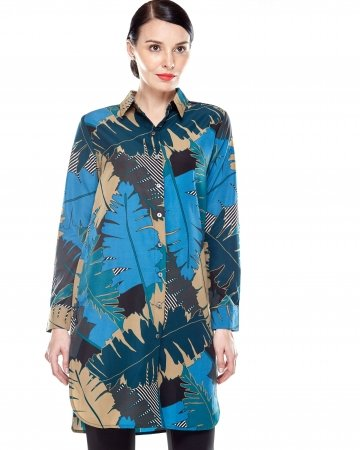Tropical Print Shirt Blouse