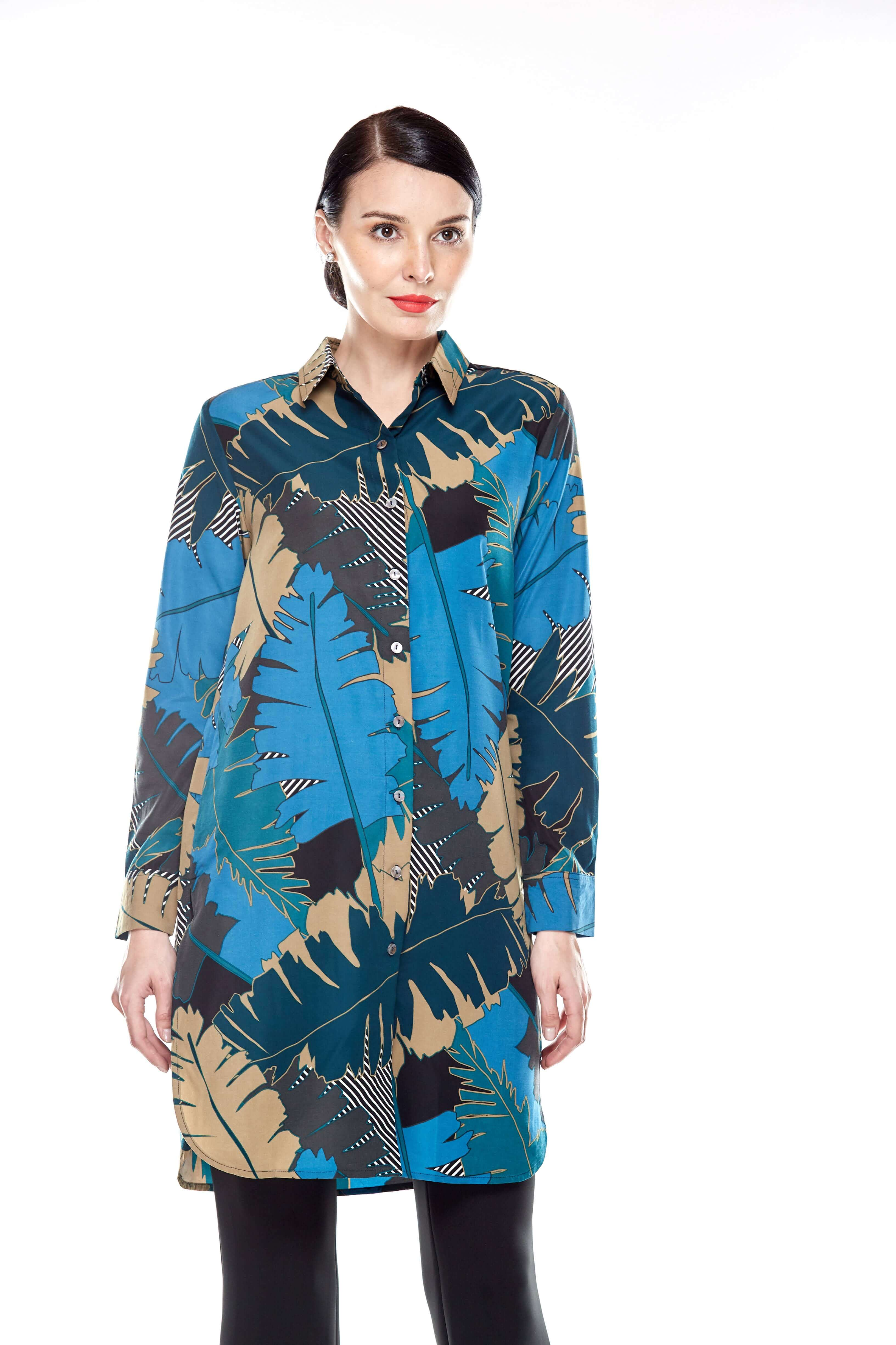 Tropical Print Shirt Blouse