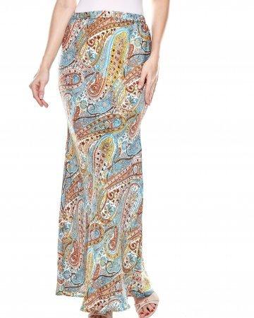 Blue Yellow Pasley Mermaid Skirt