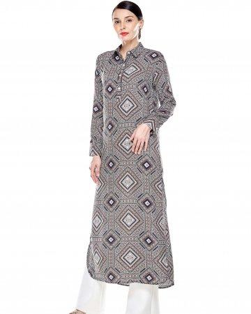 Brown Printed Dress With Slit