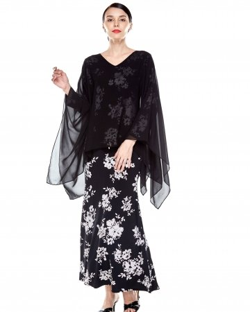 Black Printed Dress With Shawl