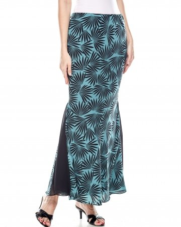 Green Black Printed Mermaid Skirt