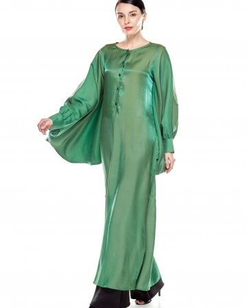 Green Soft Satin Caftan Dress
