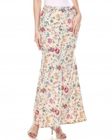 Beige Floral Mermaid Skirt