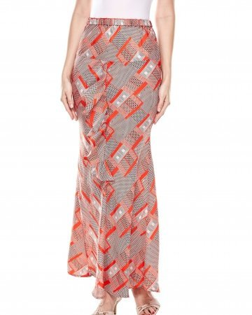 Orange Printed Ruffle Skirt