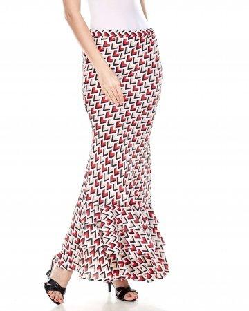 Red Printed Ruffle Skirt