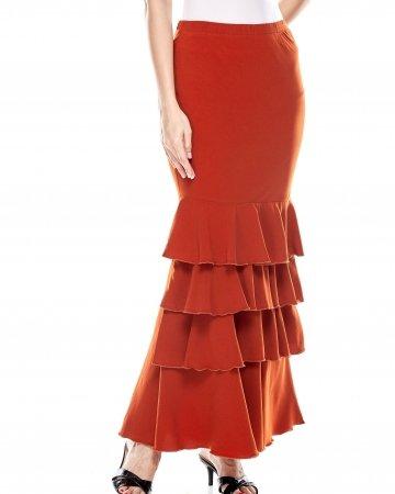 Dark Orange Ruffle Skirt