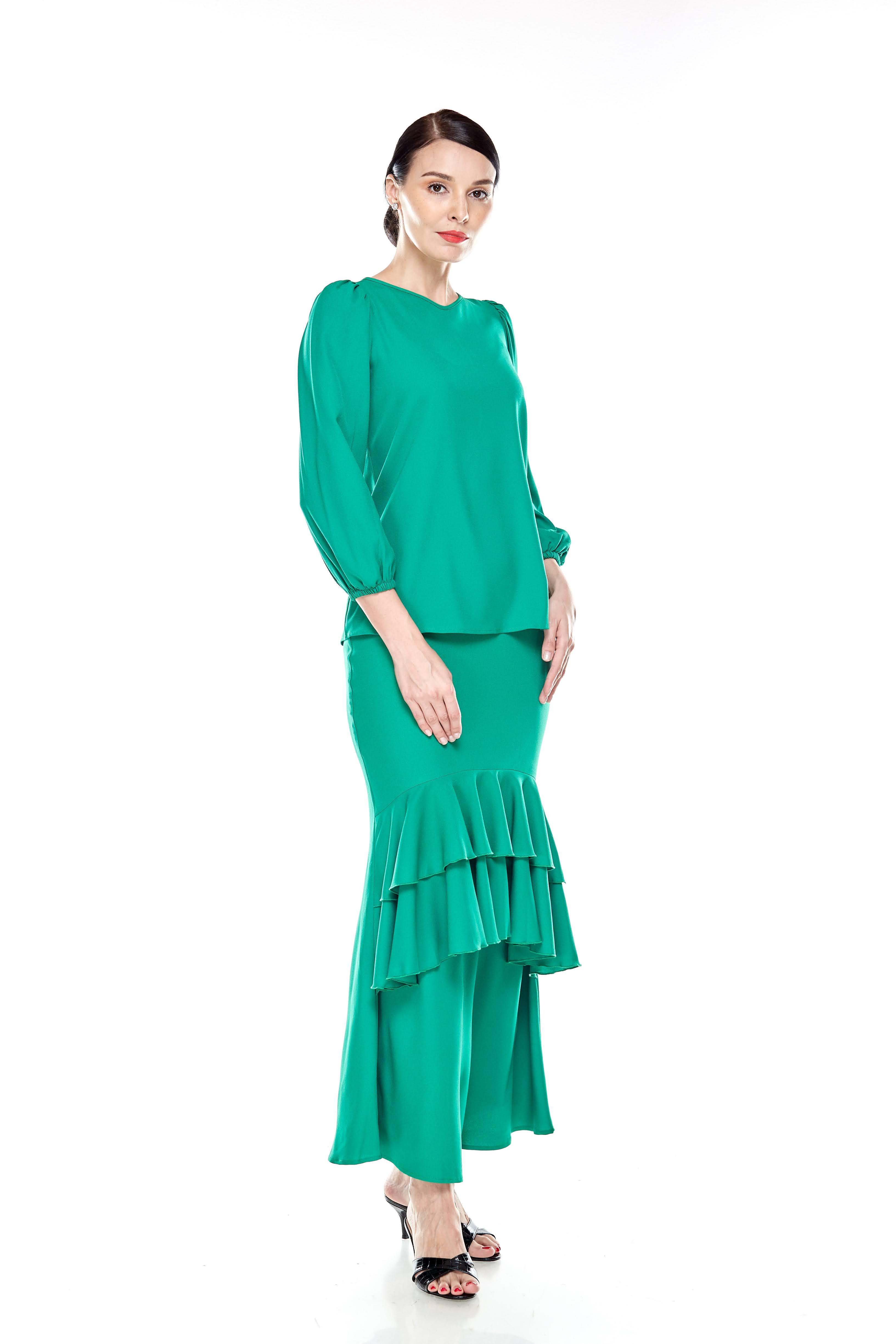 Shocking Green Puff Sleeve Blouse (2)