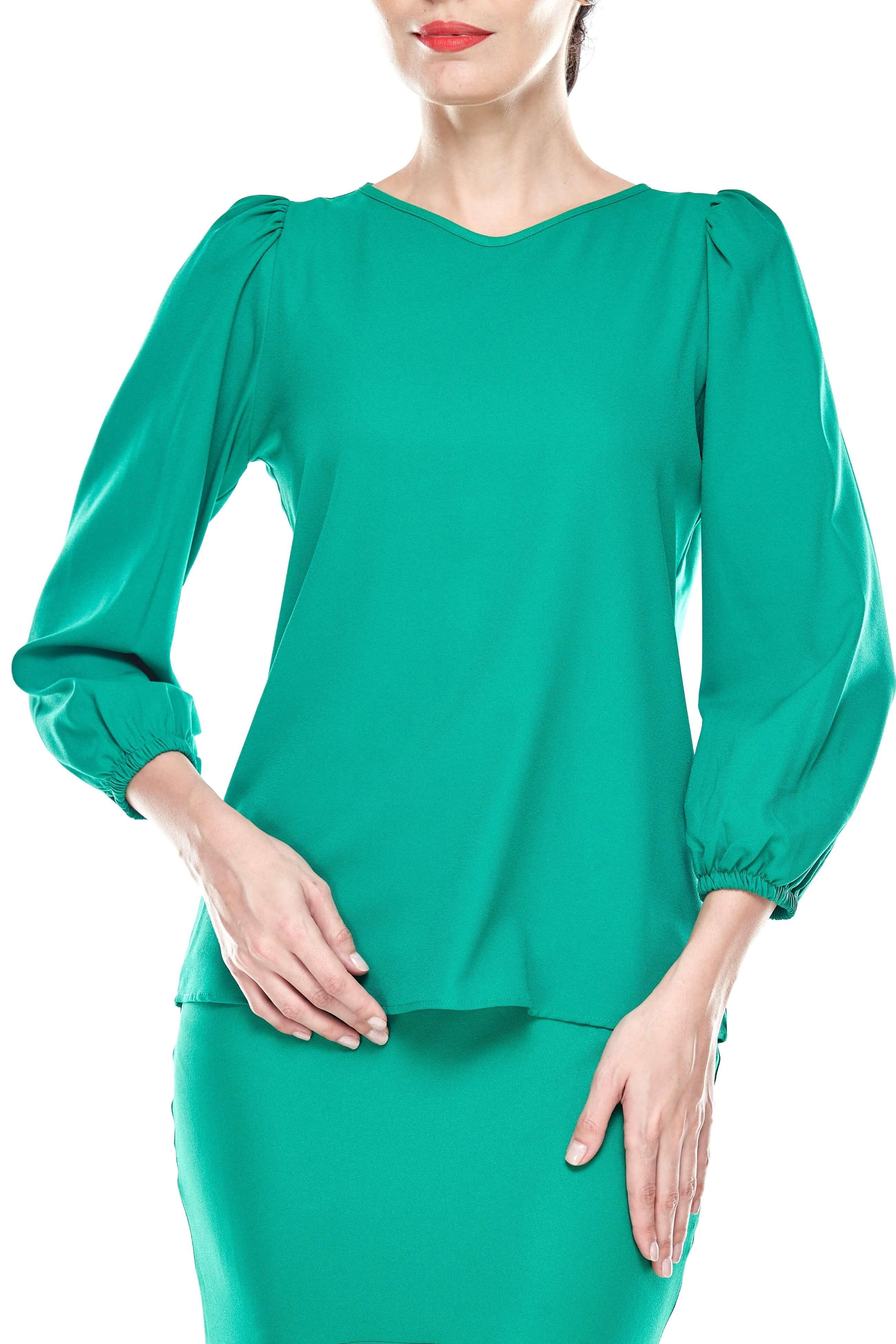 Shocking Green Puff Sleeve Blouse (3)