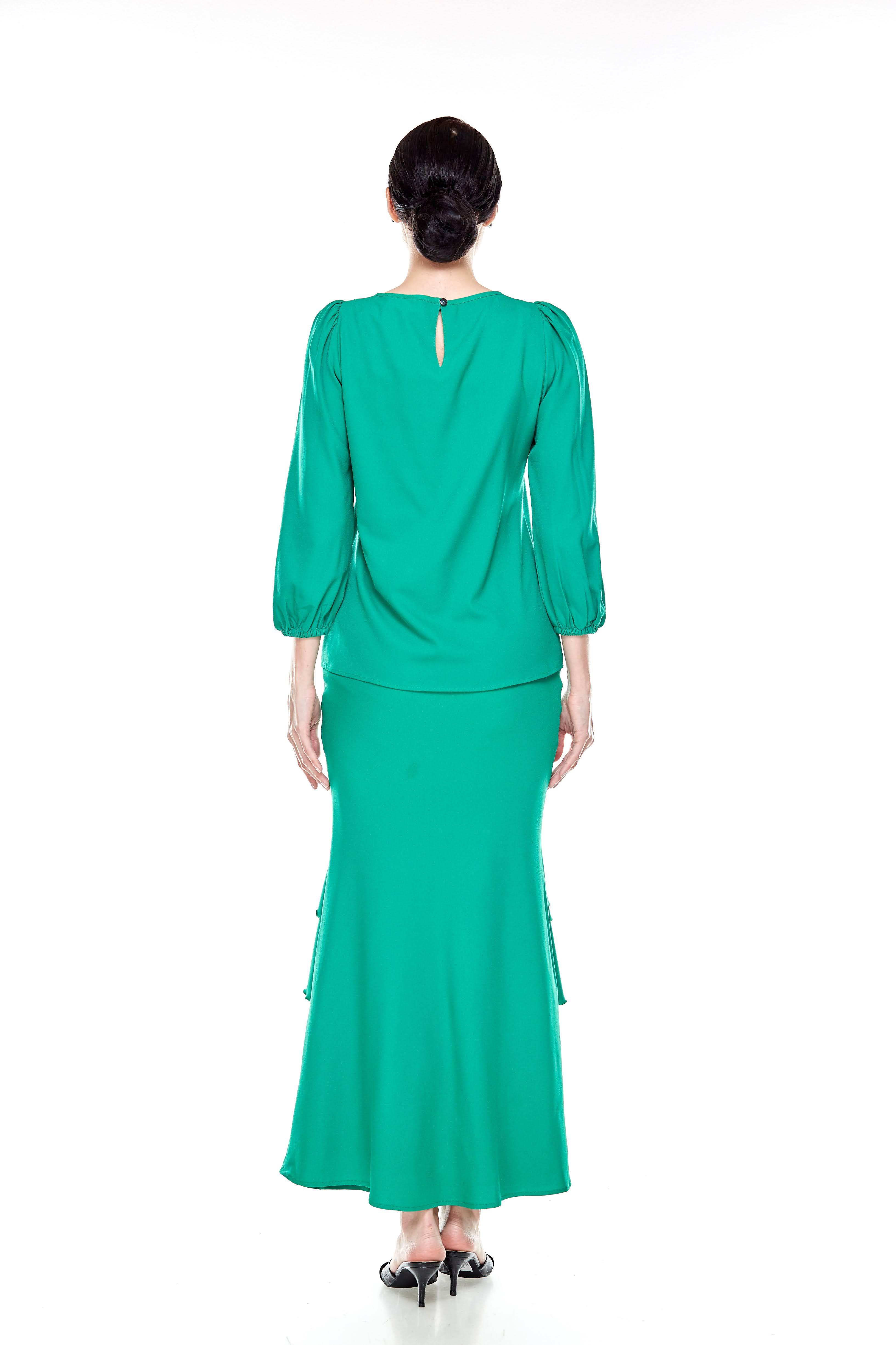 Shocking Green Puff Sleeve Blouse (7)