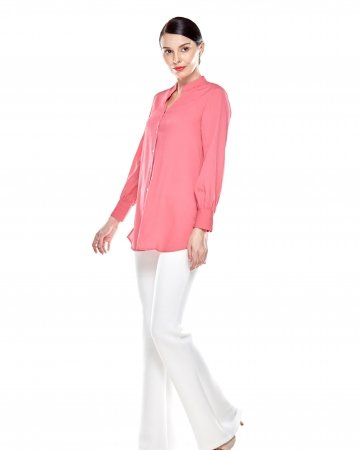 Carnation Pink Stand Collar Blouse