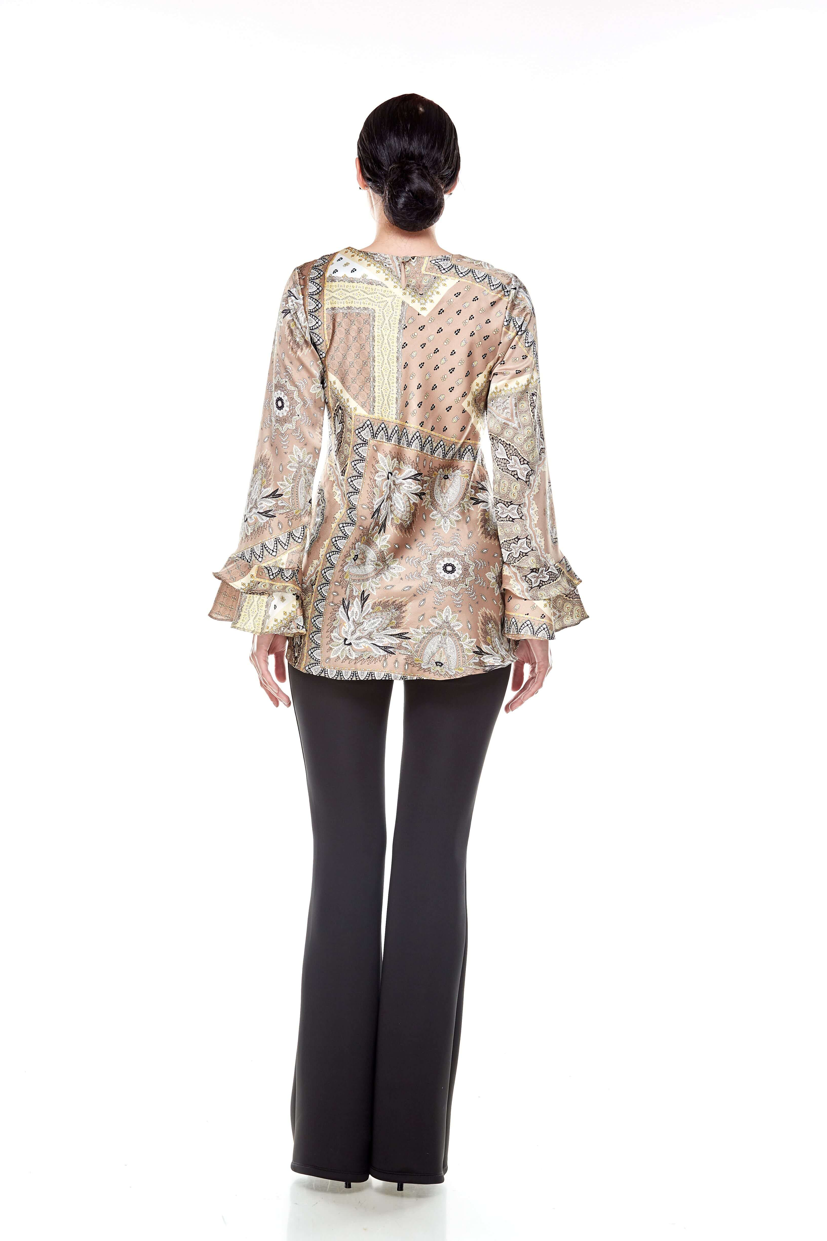 Beige Pasley Print Blouse (5)