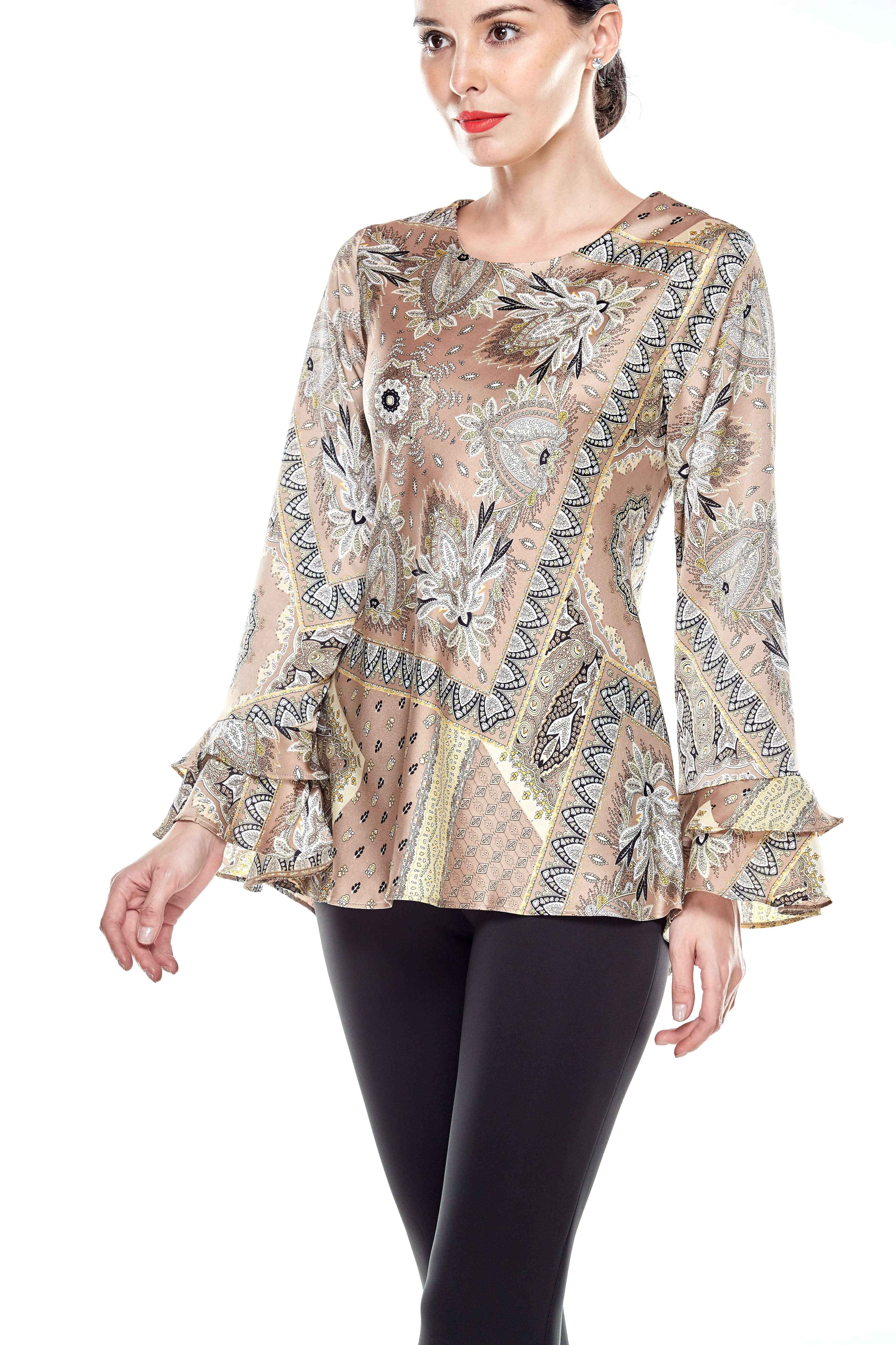 Beige Pasley Print Blouse