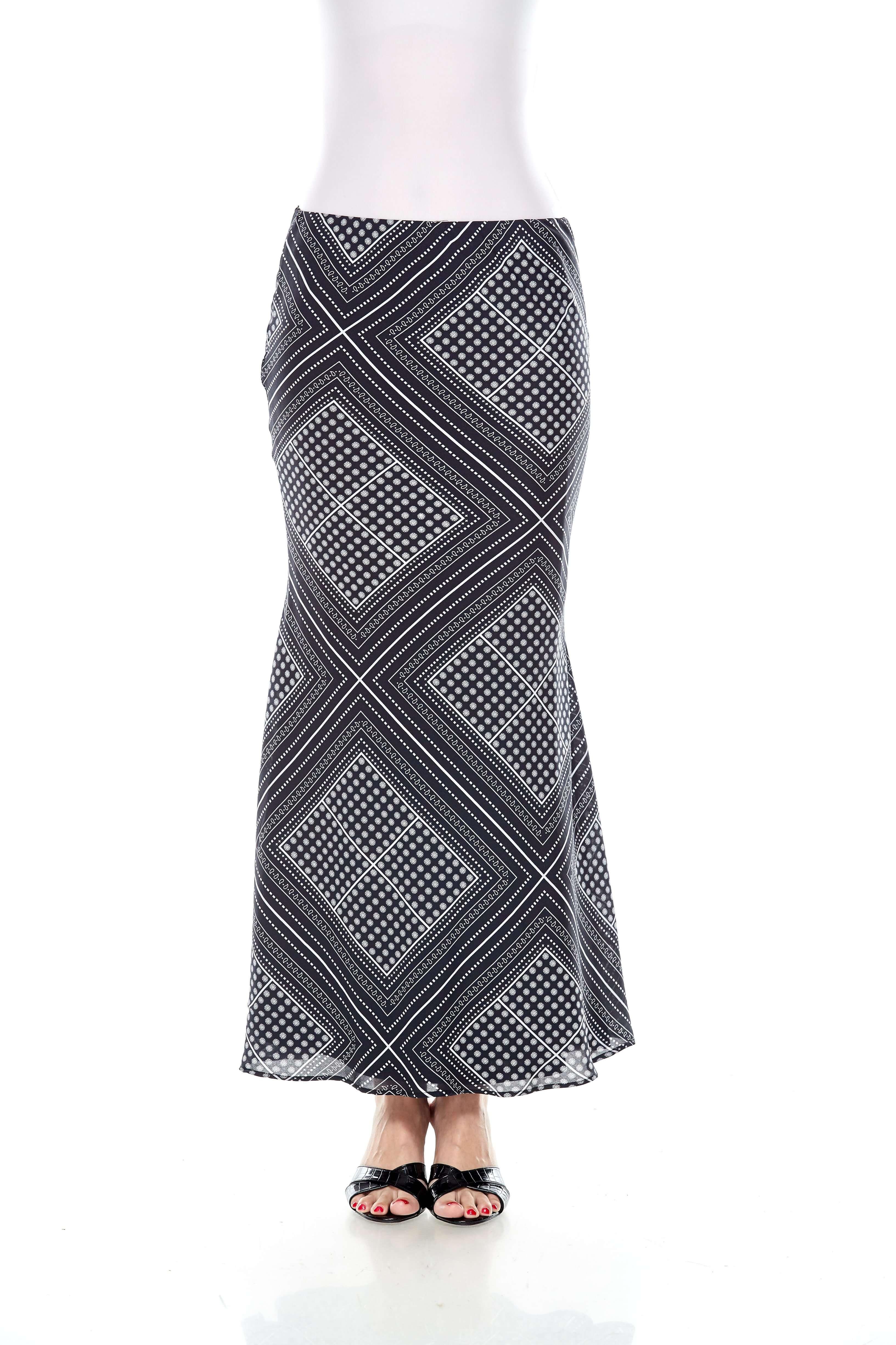 Black Handkerchief Print Mermaid Skirt (2)