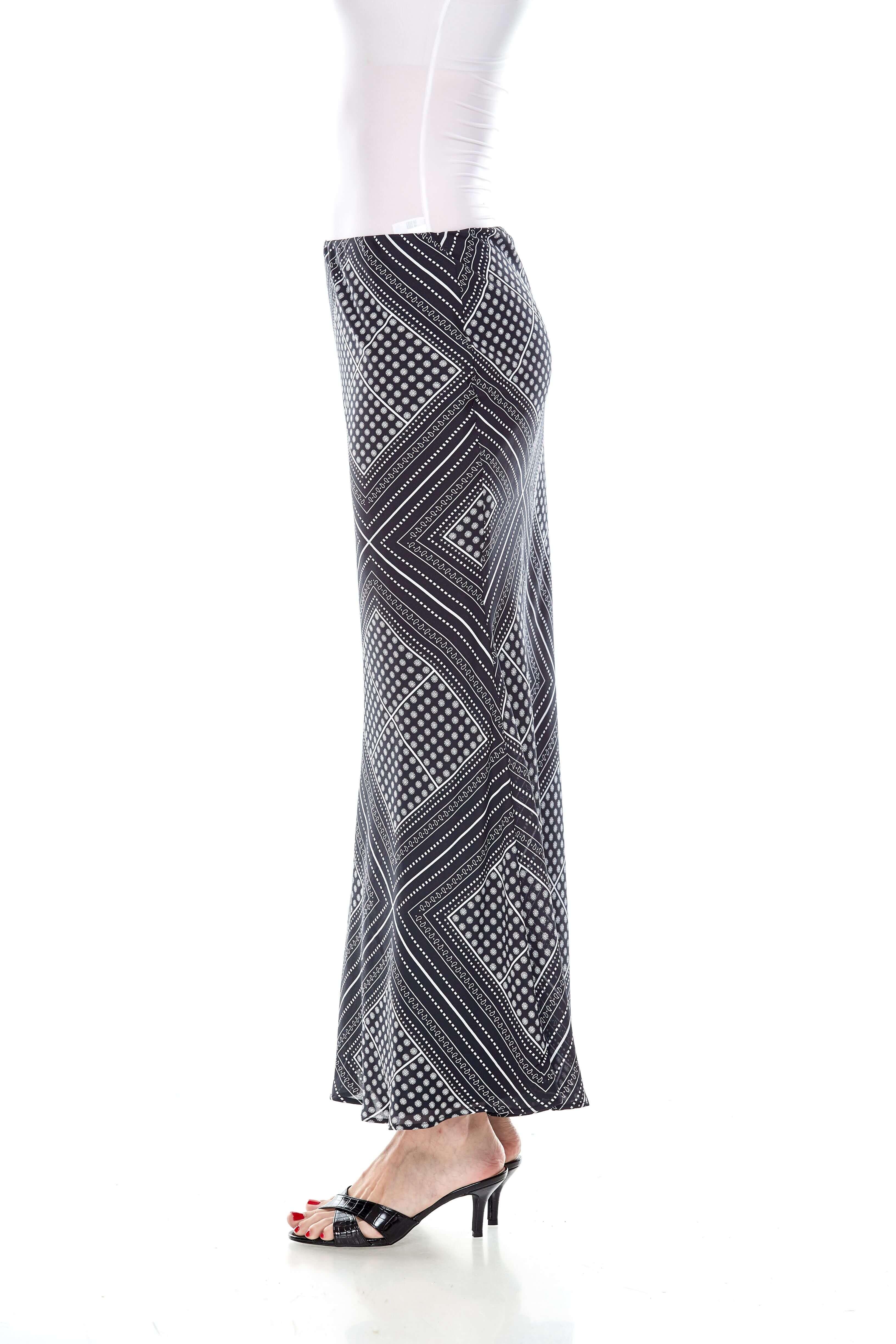 Black Handkerchief Print Mermaid Skirt (4)