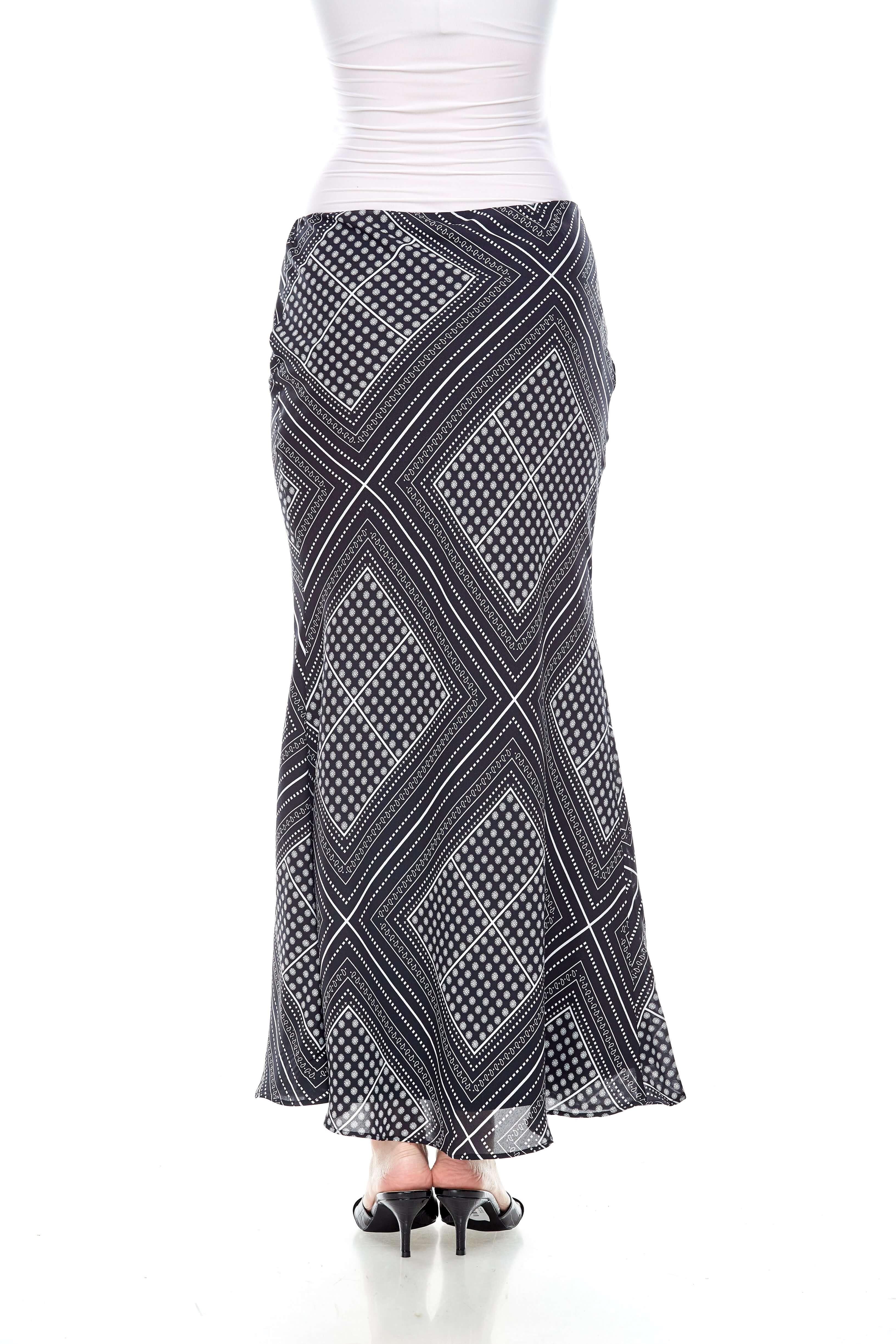 Black Handkerchief Print Mermaid Skirt (5)
