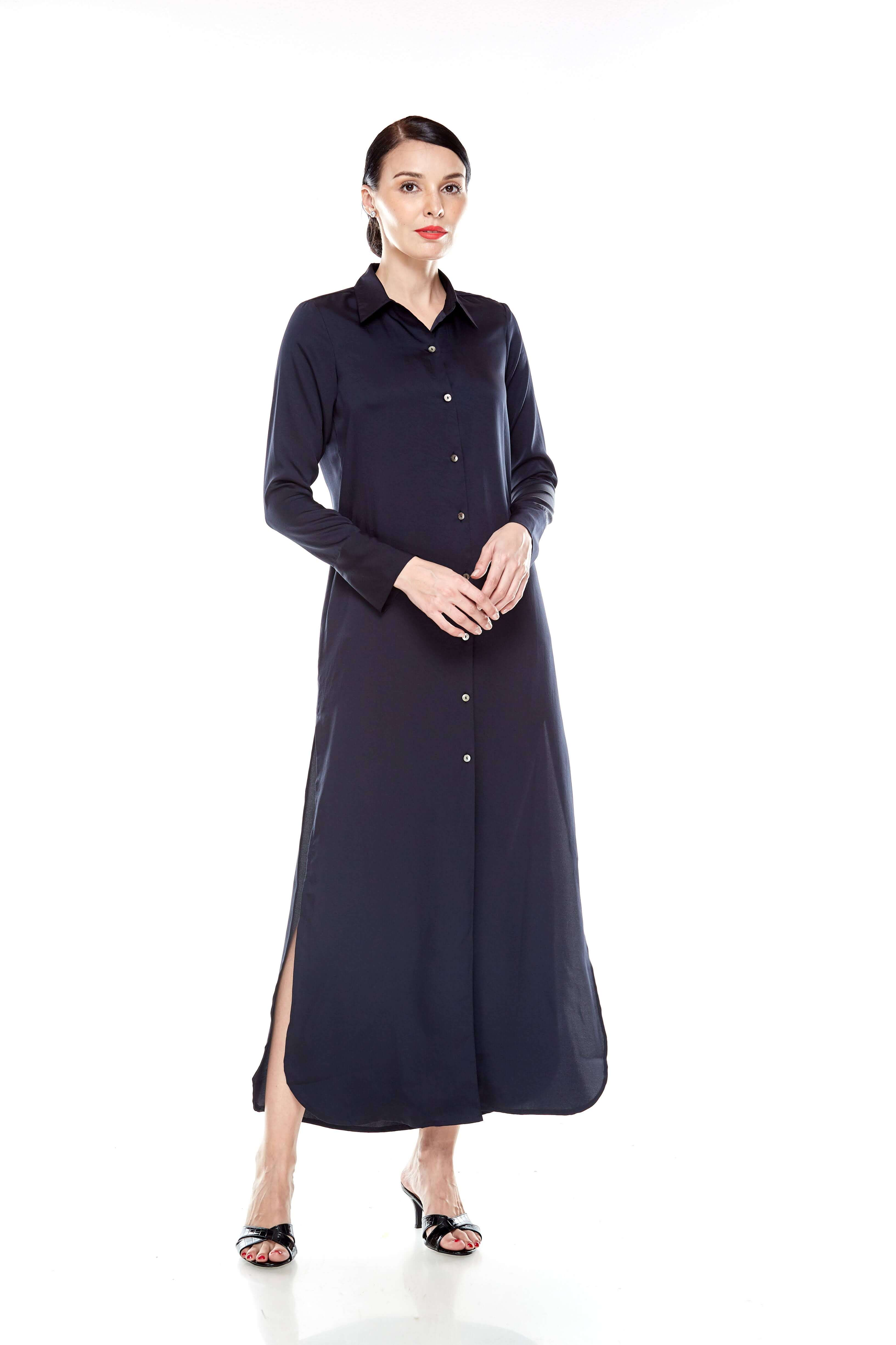 Black Long Shirt Dress (2)