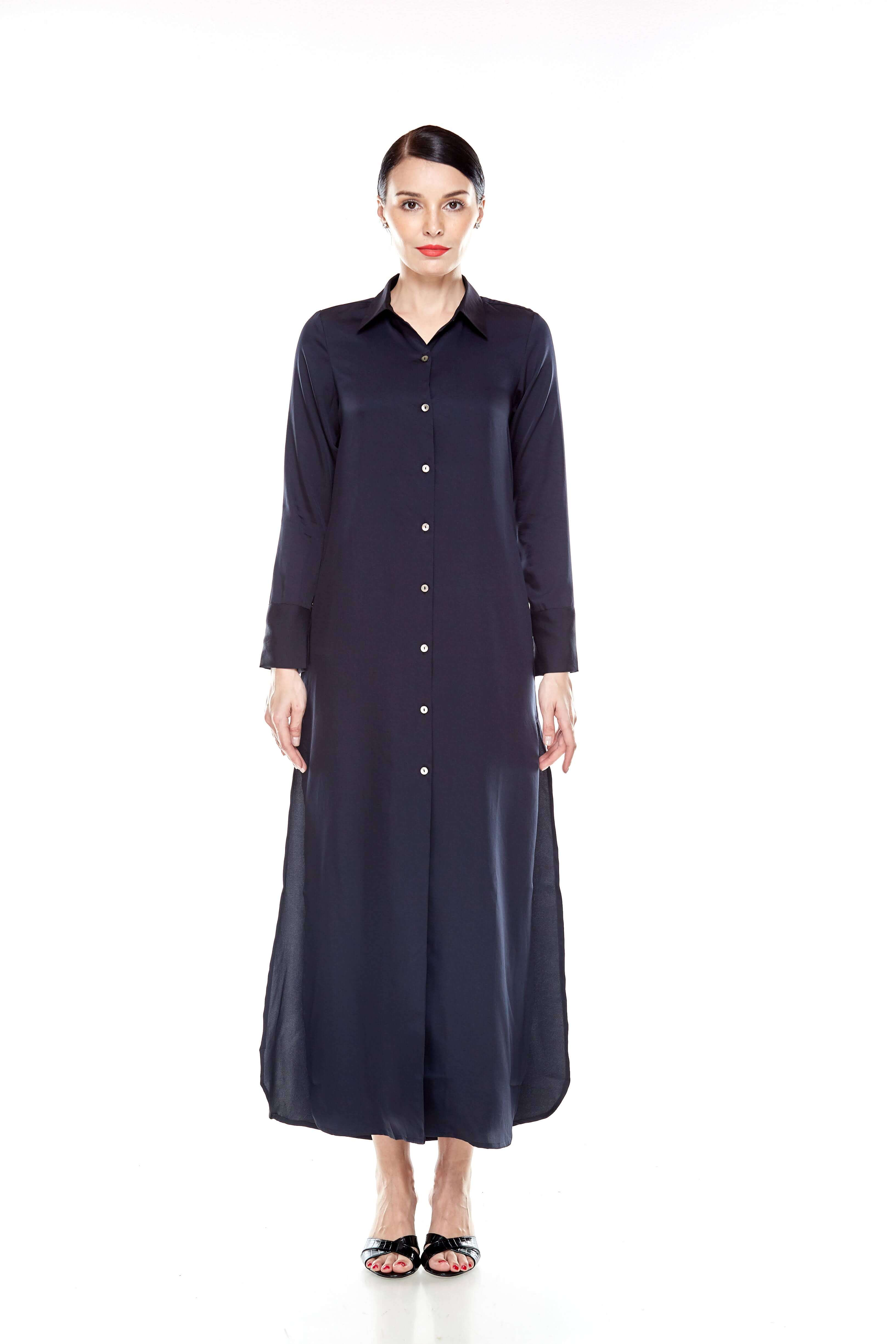 Black Long Shirt Dress (3)