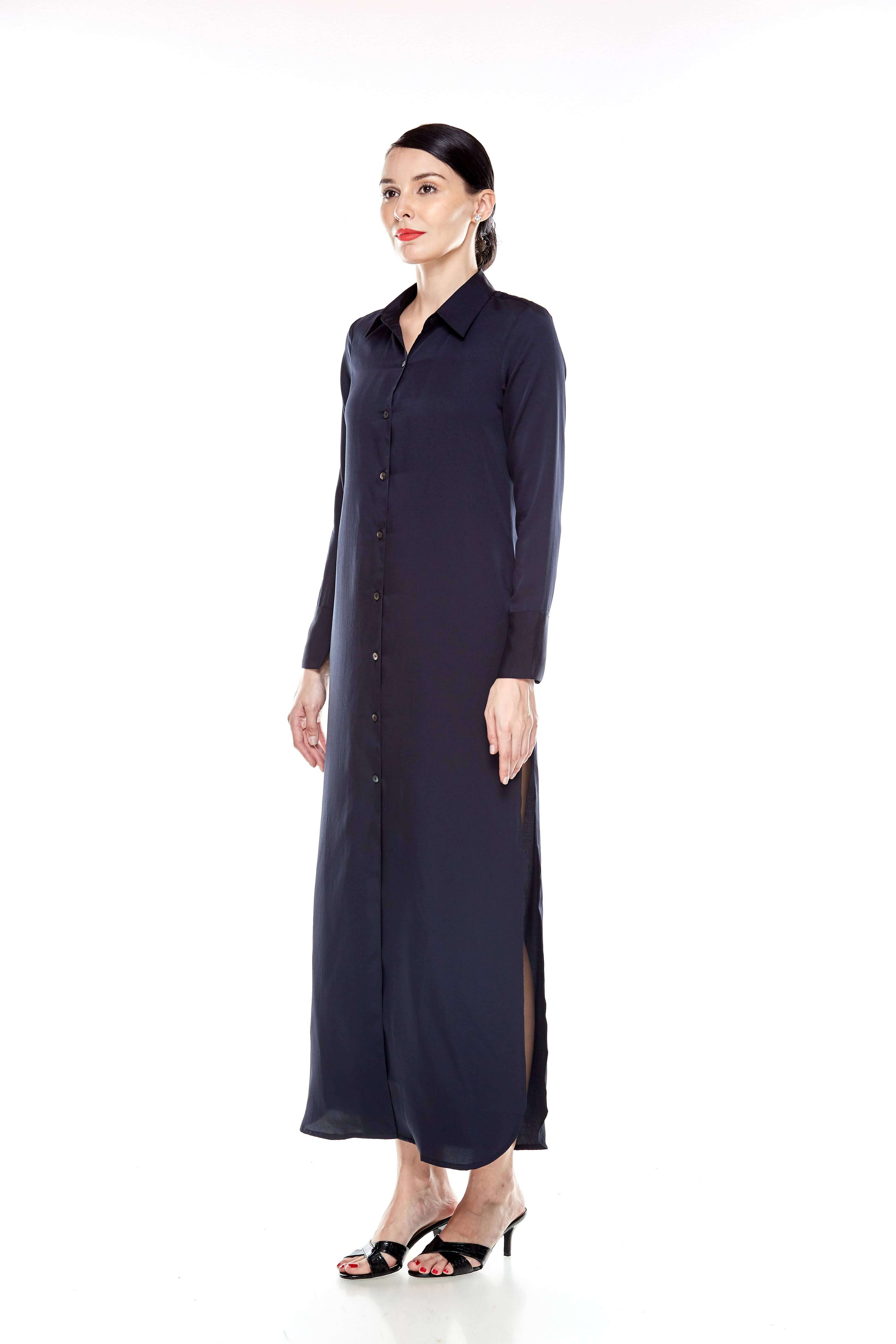 Black Long Shirt Dress (4)