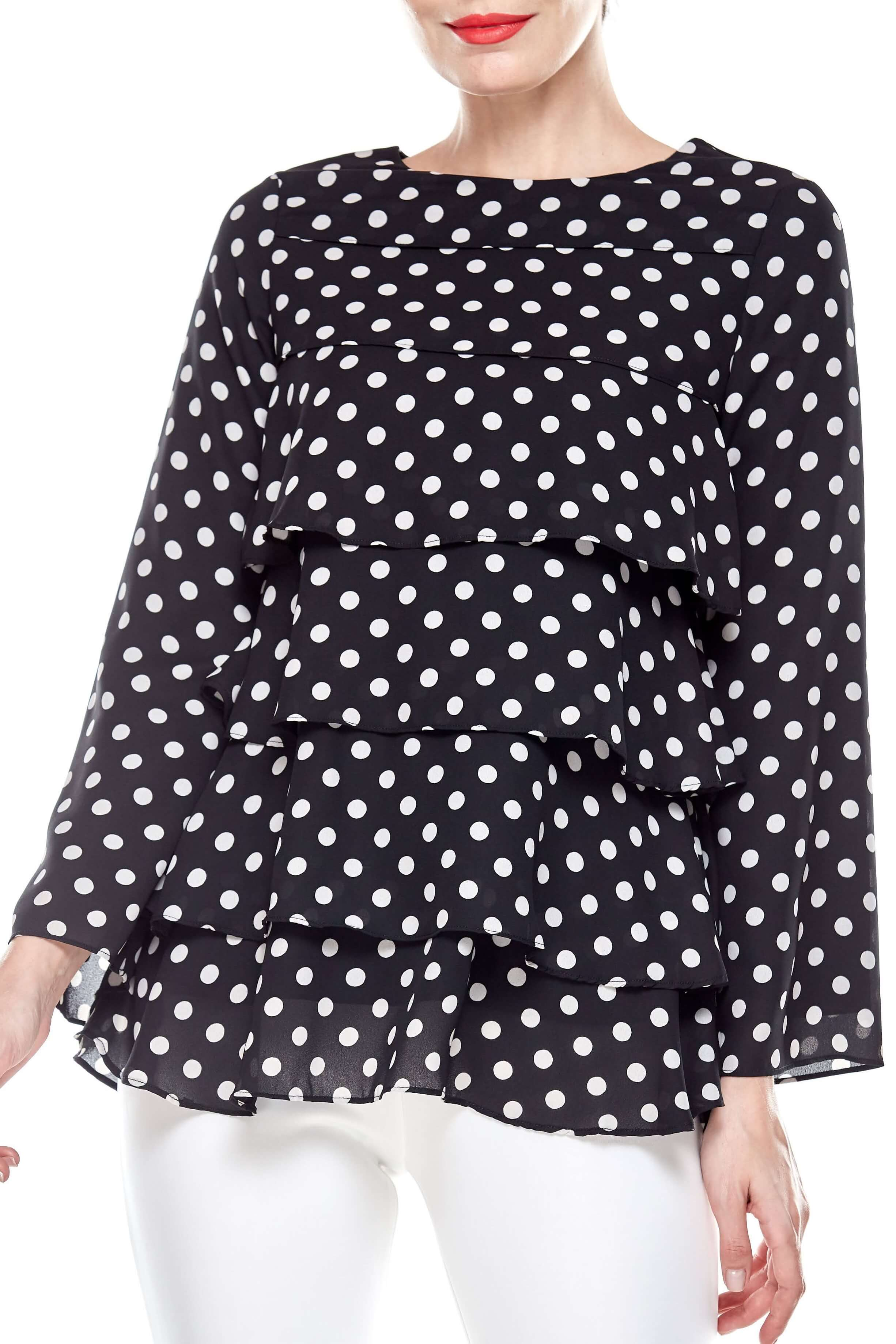 Black Tier Polka Dot Blouse (2)