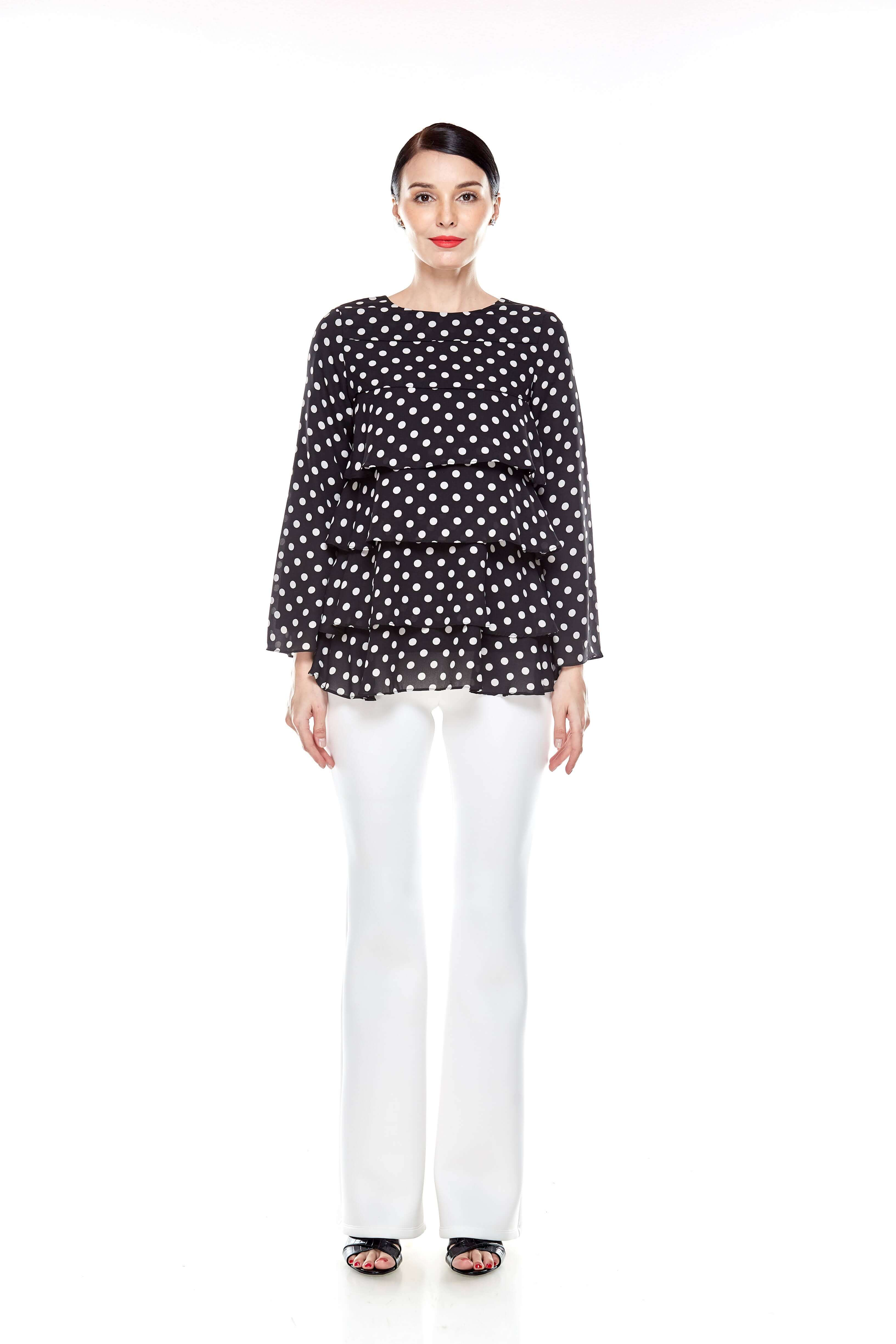 Black Tier Polka Dot Blouse (3)