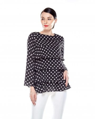 Black Tier Polka Dot Blouse