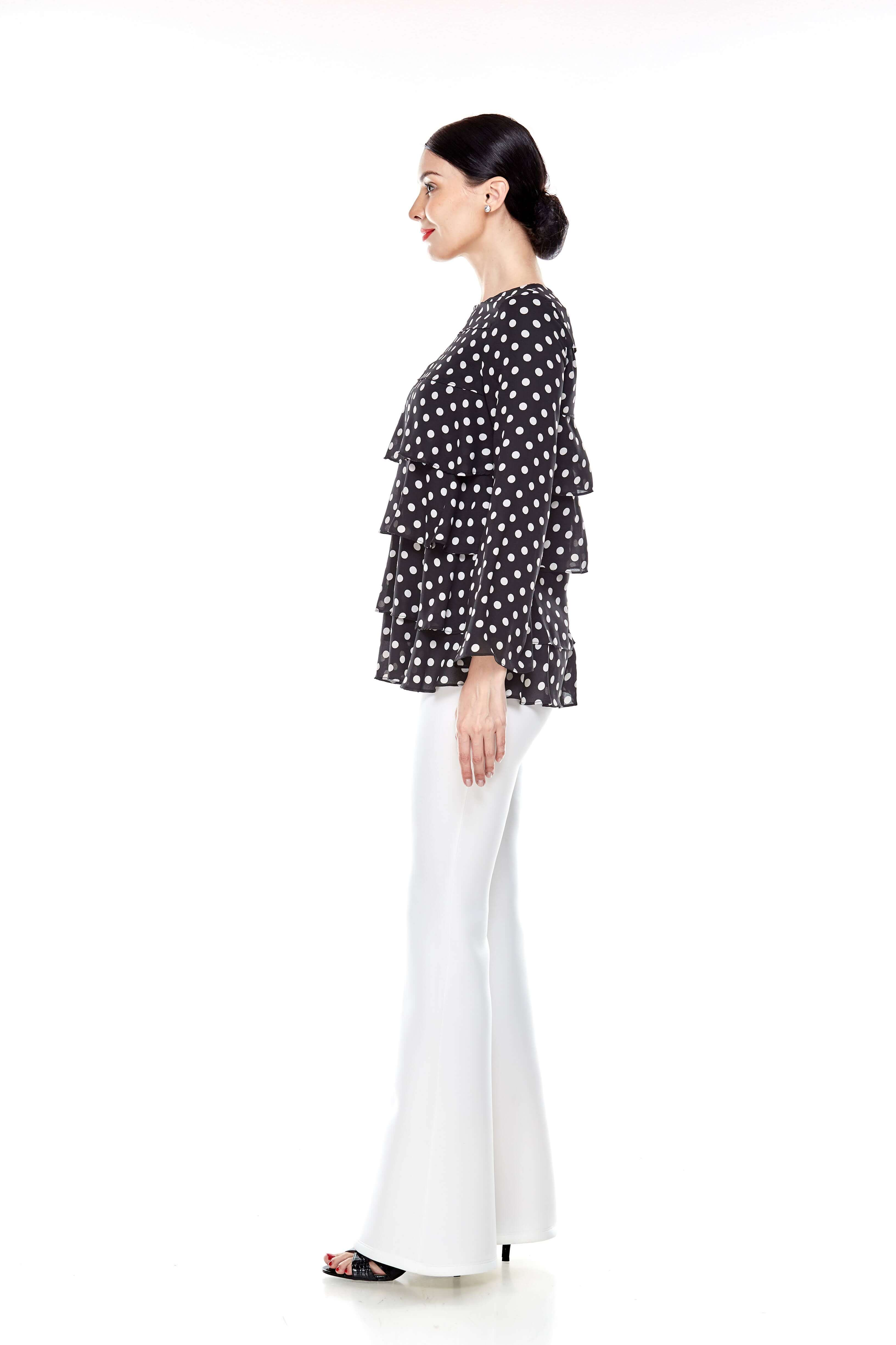 Black Tier Polka Dot Blouse (5)