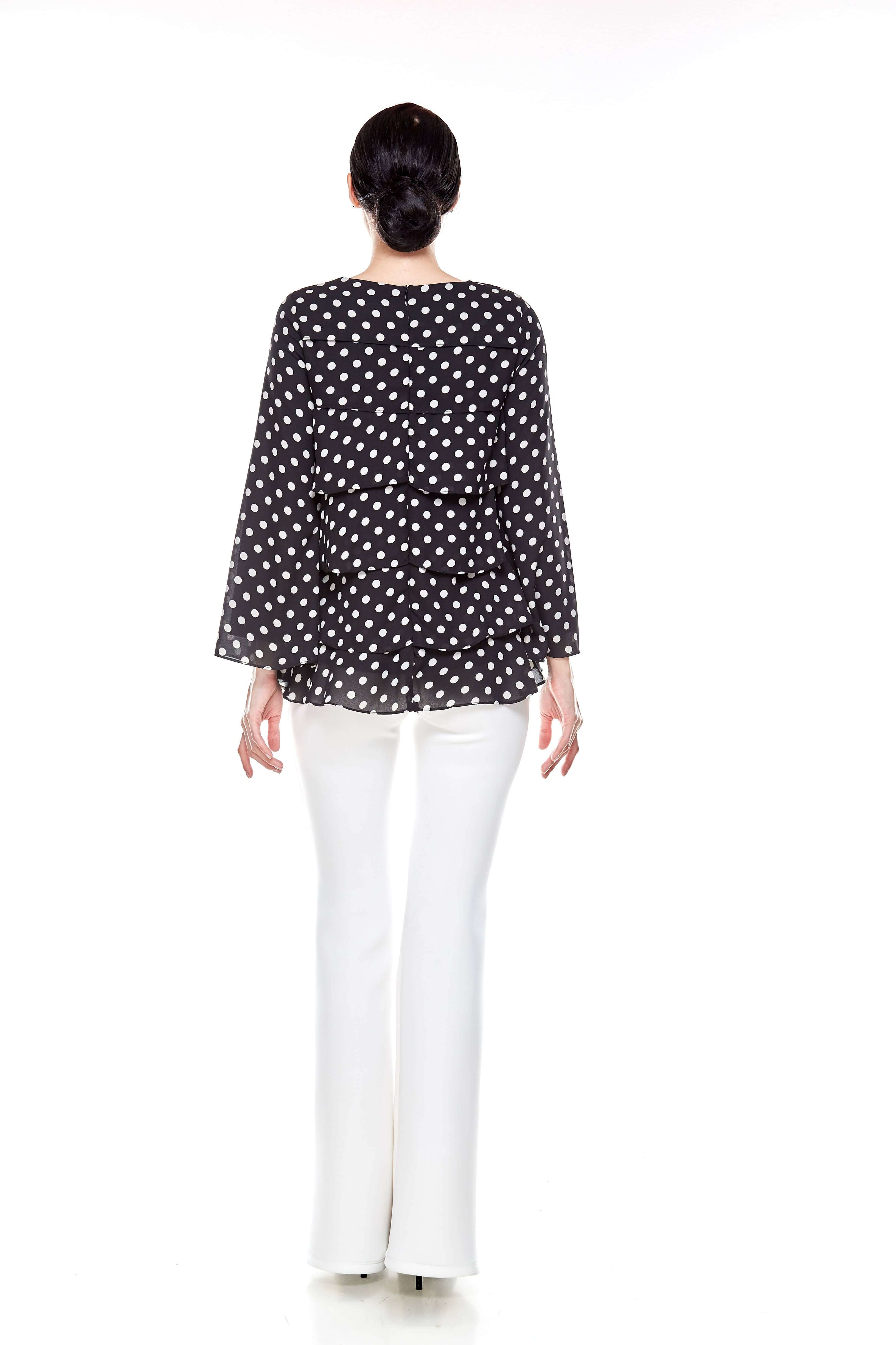 Black Tier Polka Dot Blouse (6)