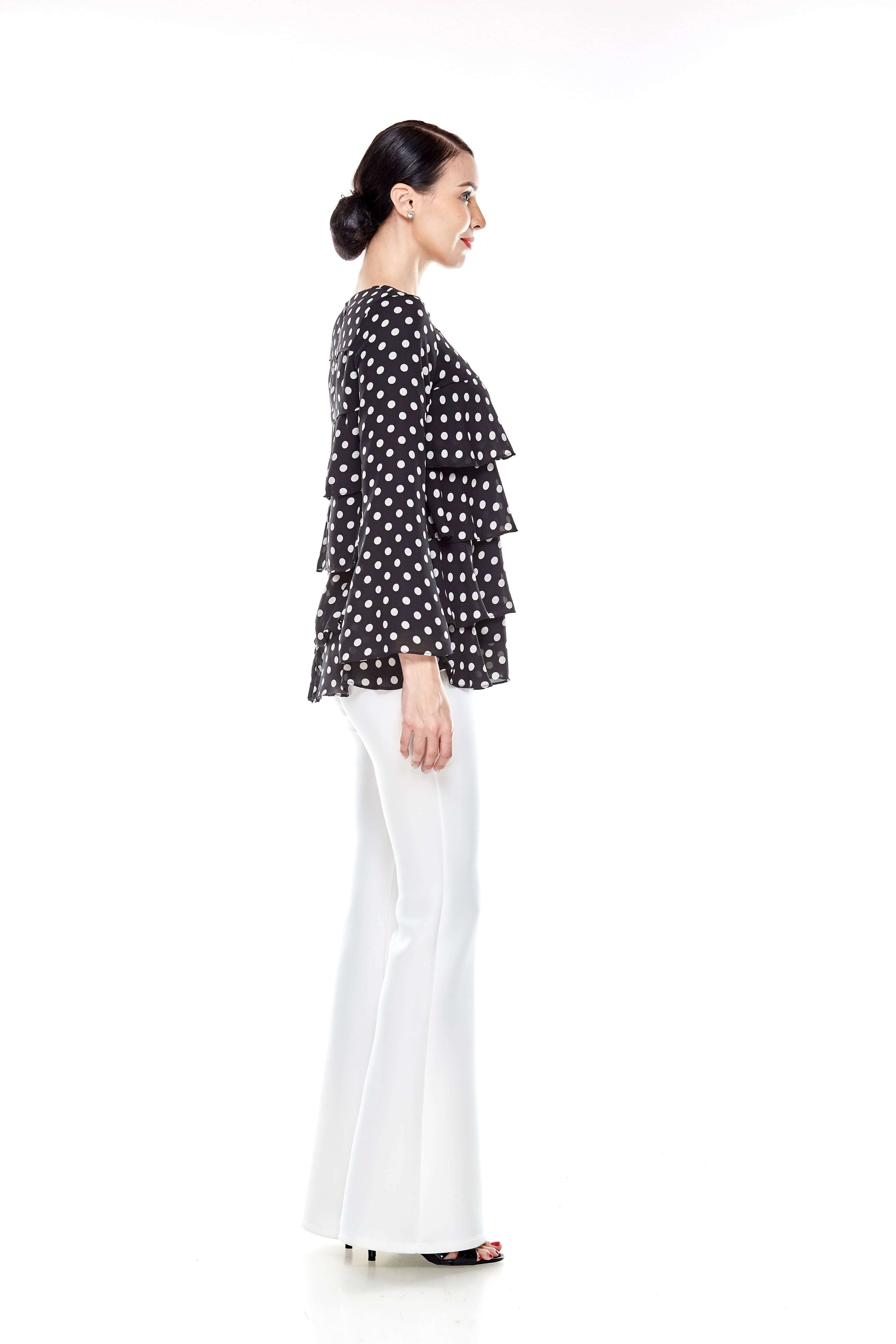 Black Tier Polka Dot Blouse (7)