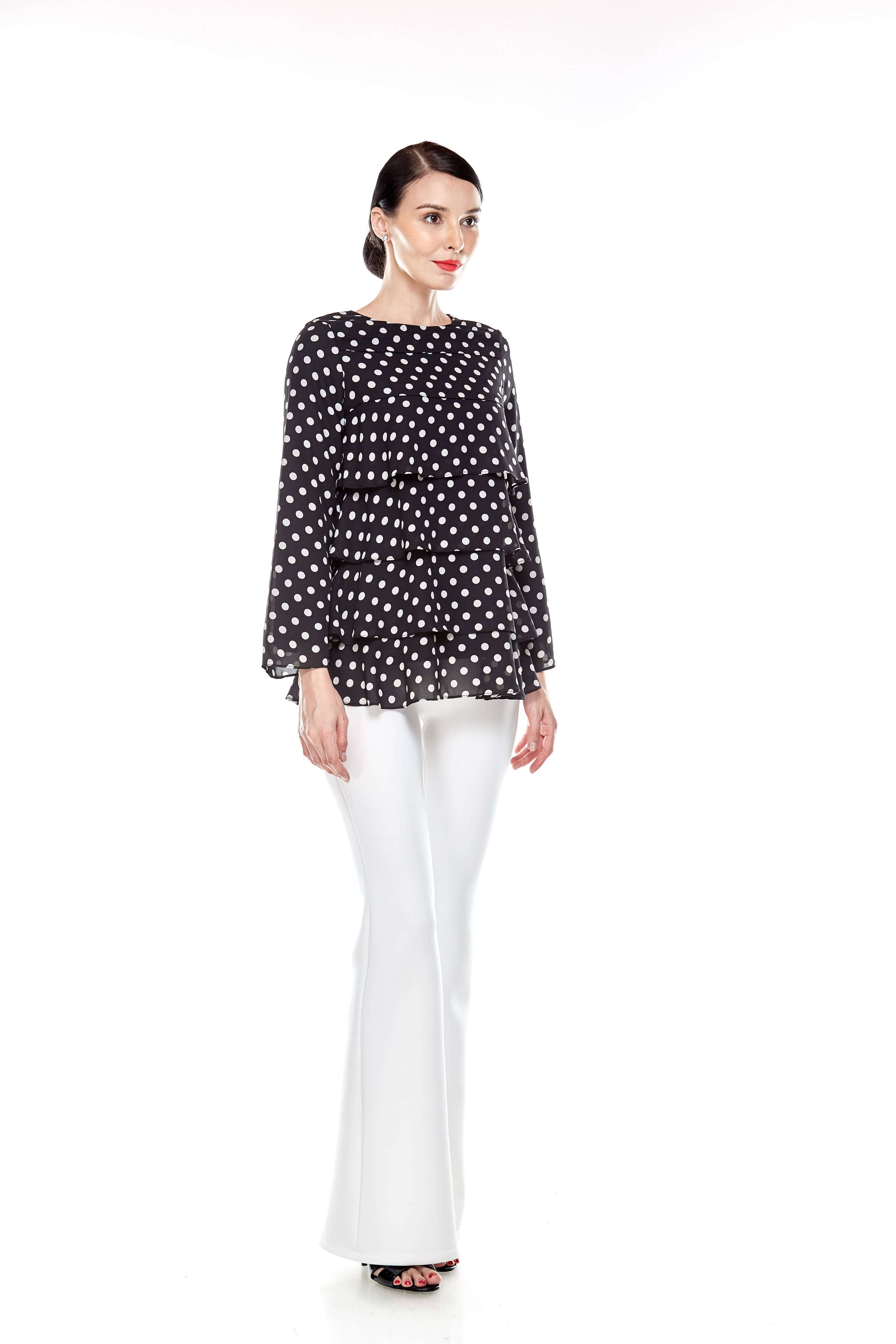Black Tier Polka Dot Blouse (8)