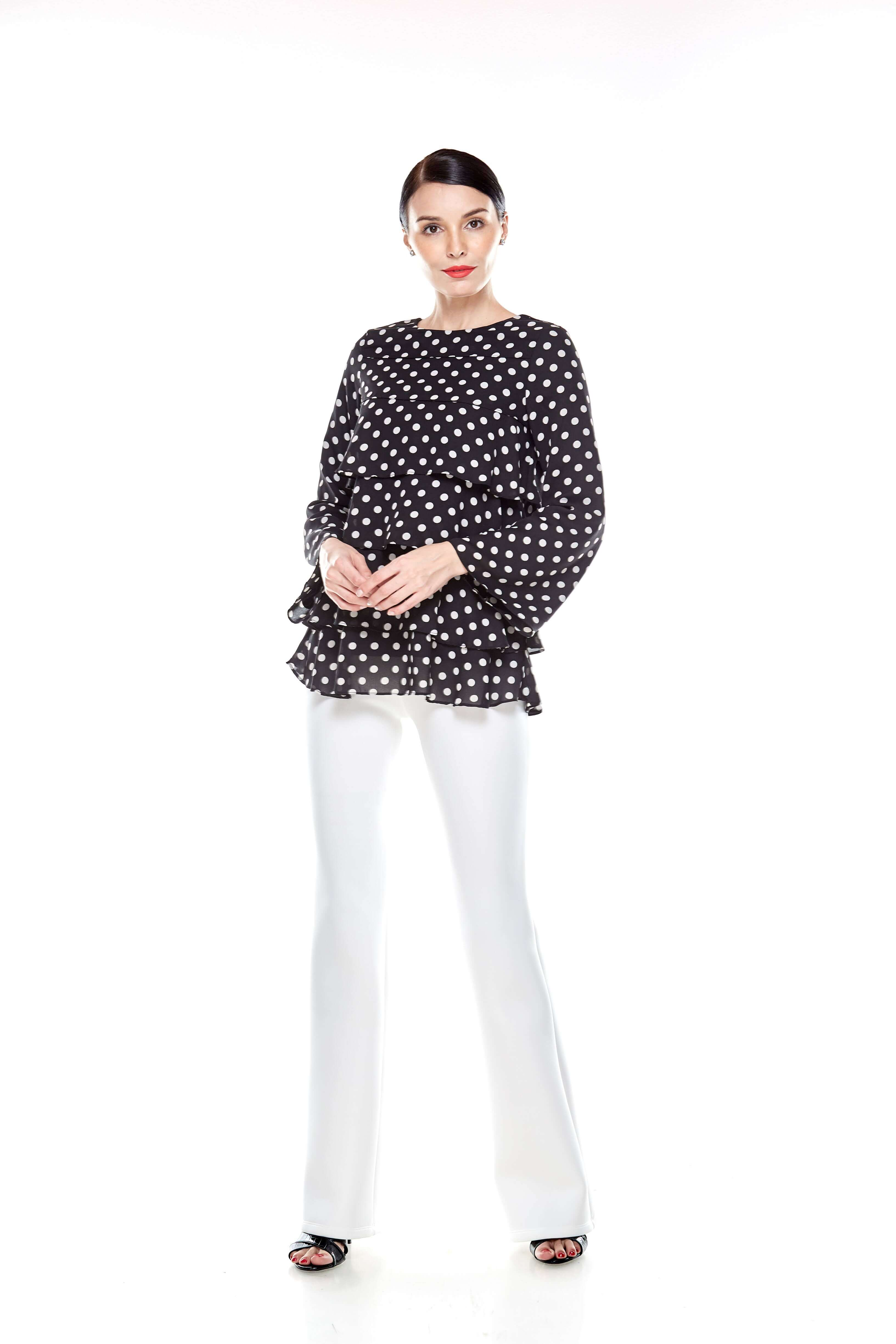 Black Tier Polka Dot Blouse (9)