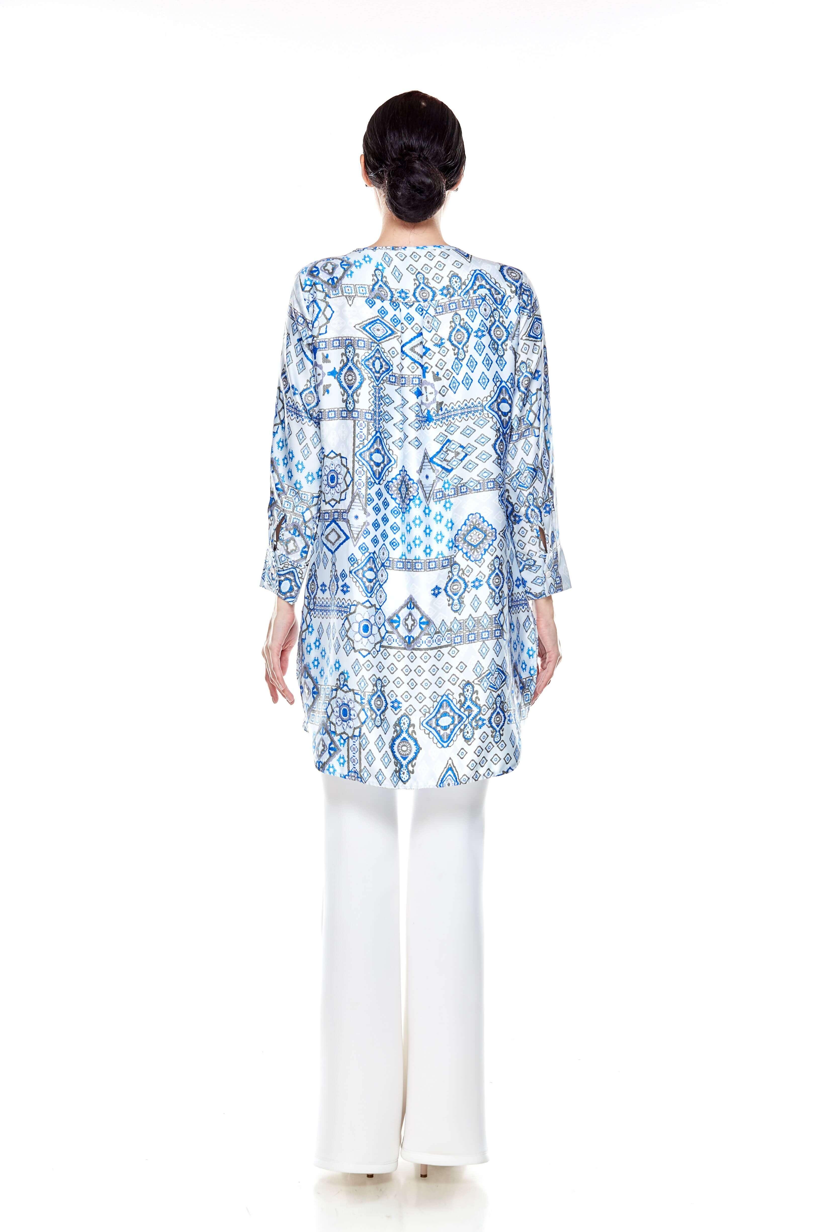 Blue Printed Tie Neck Blouse (5)