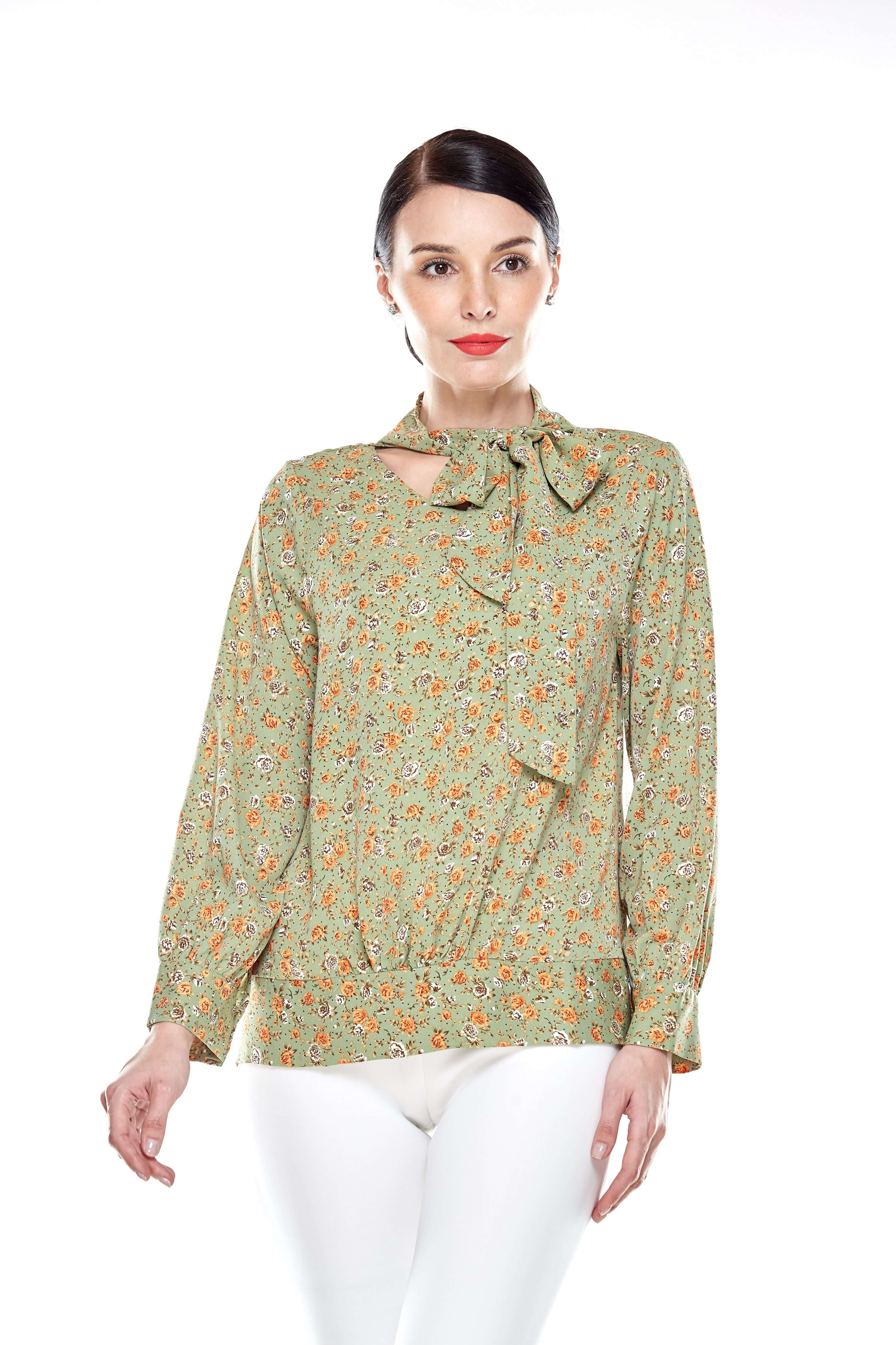 Green Floral Pussy Bow Blouse