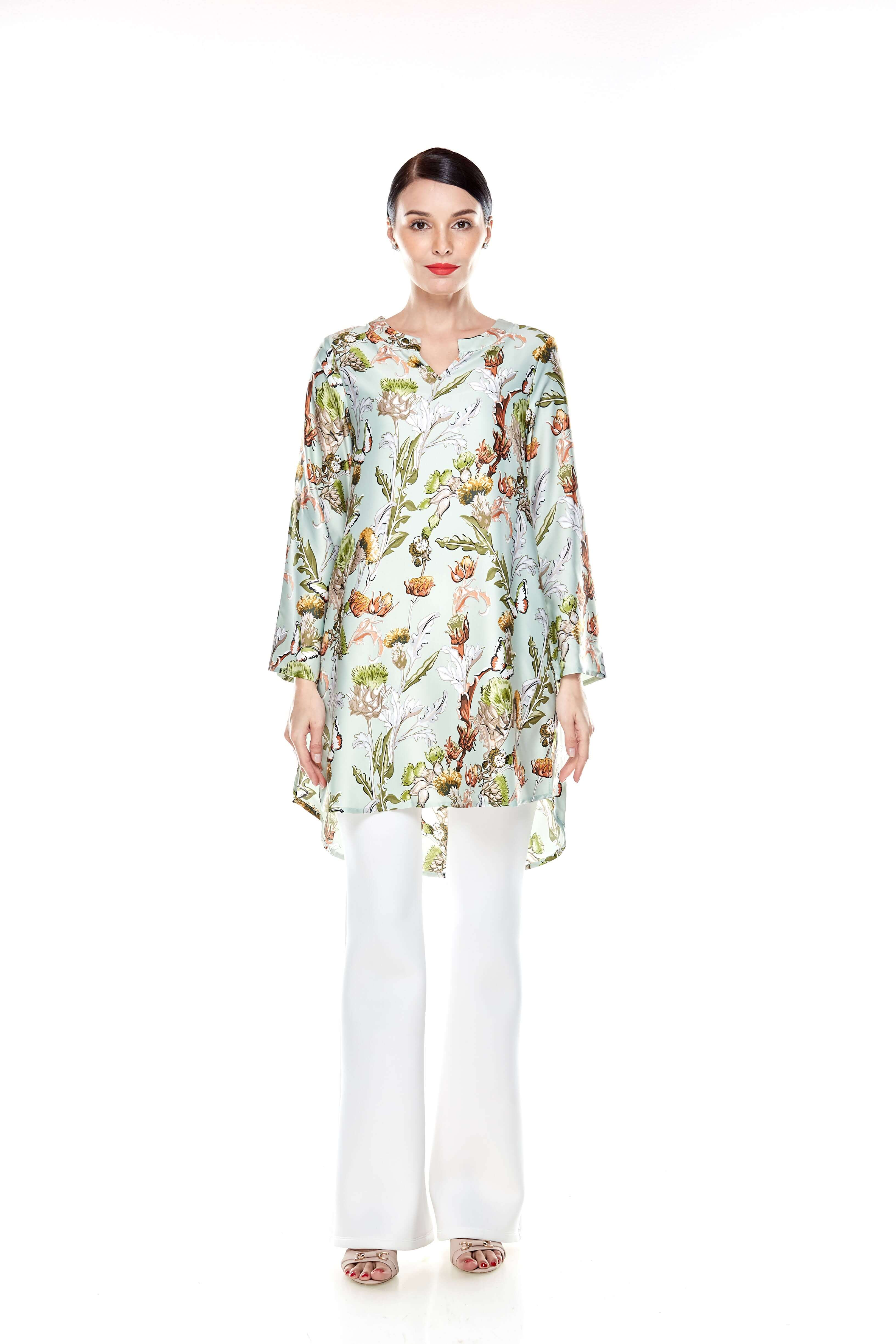 Green Printed Stand Collar Tunic (2)