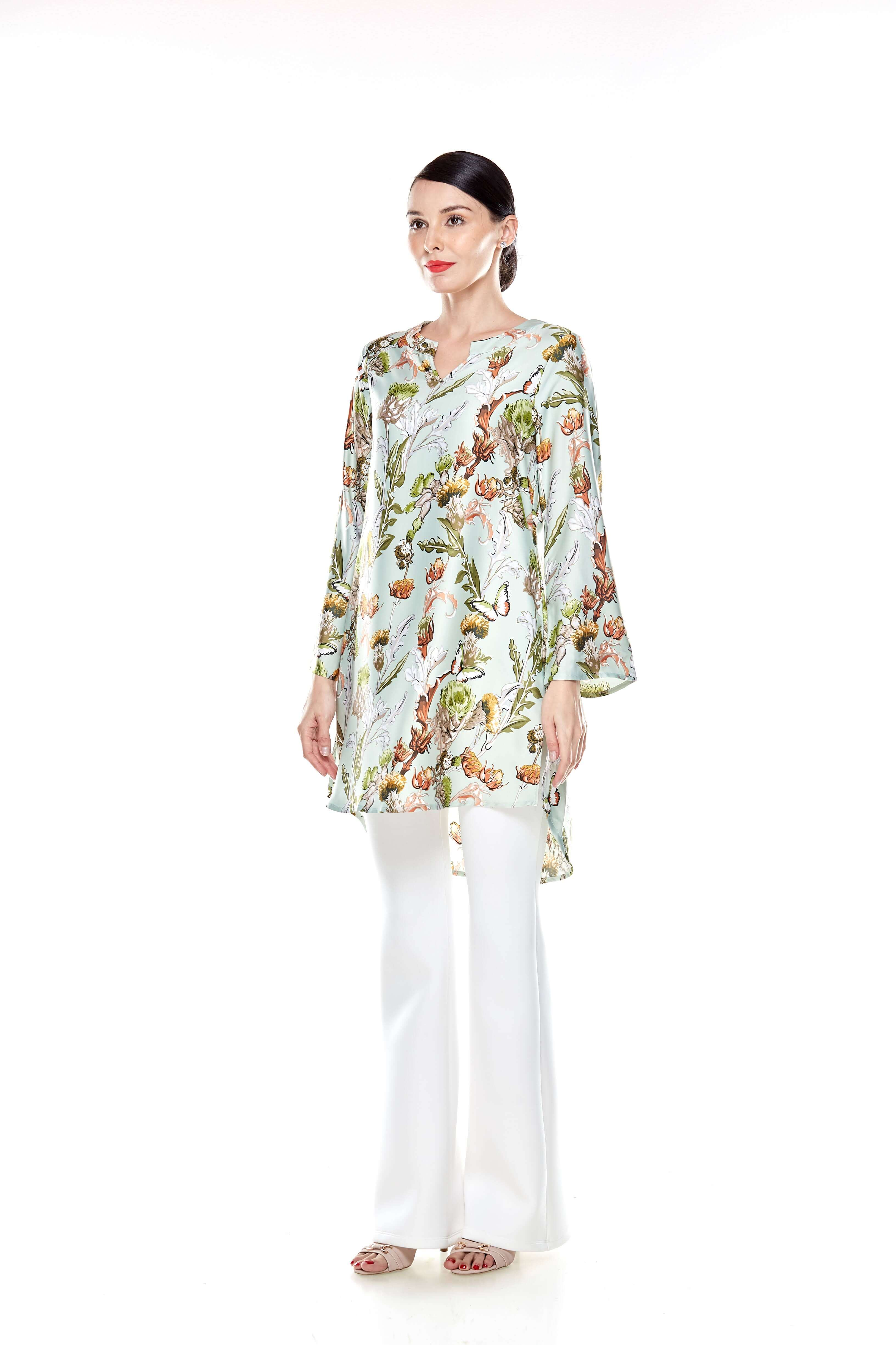Green Printed Stand Collar Tunic (3)