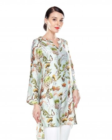Green Printed Stand Collar Tunic