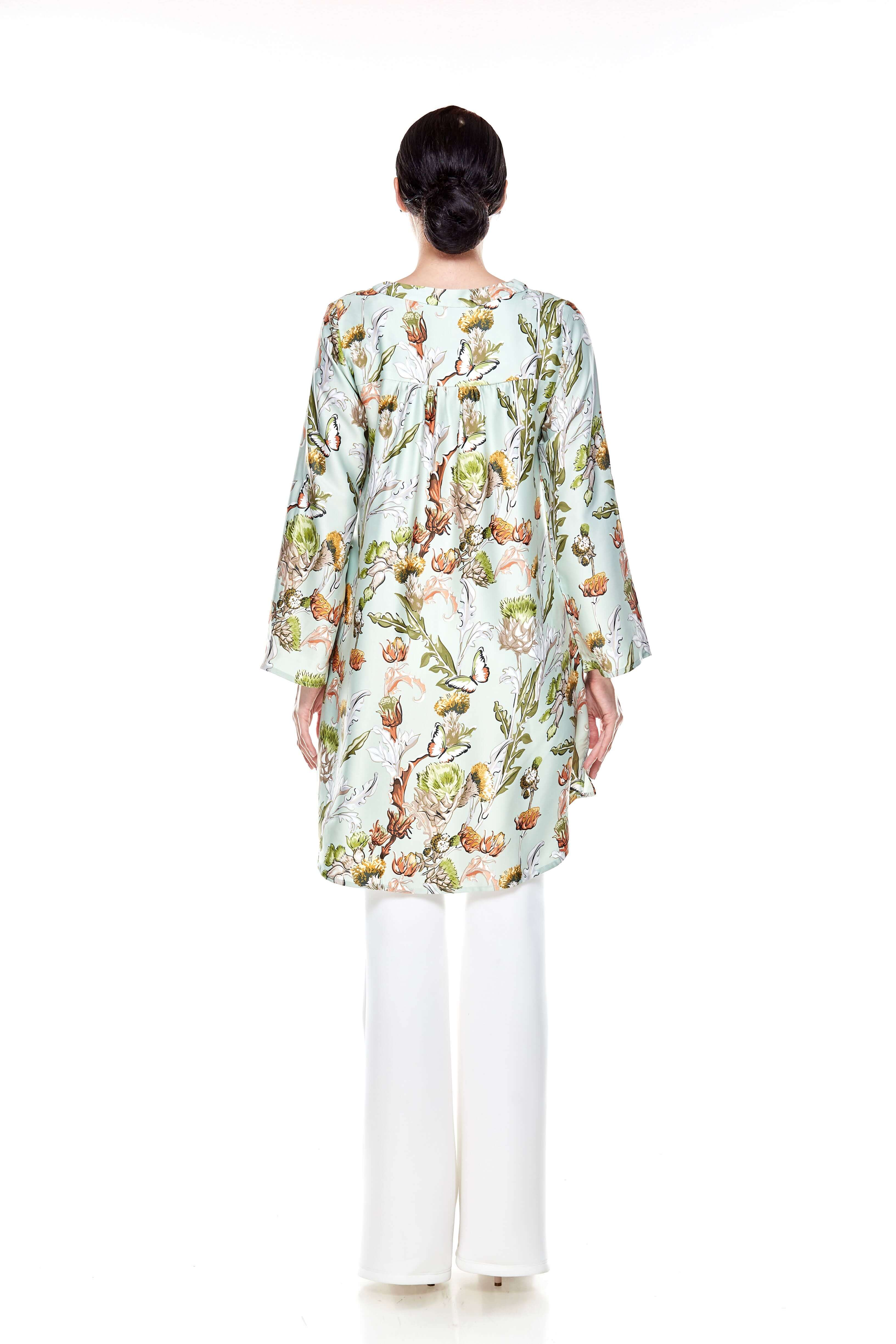 Green Printed Stand Collar Tunic (5)