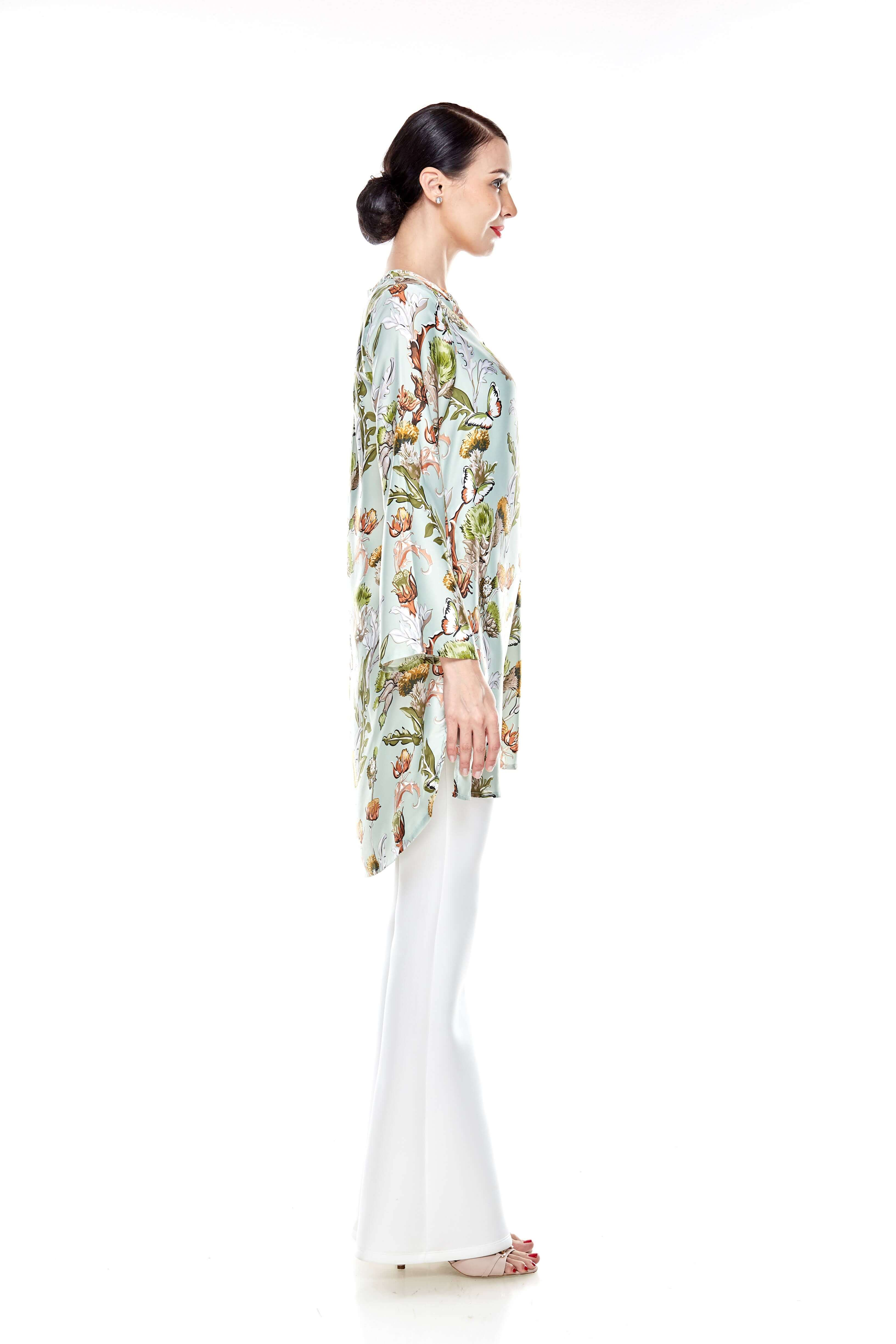 Green Printed Stand Collar Tunic (6)