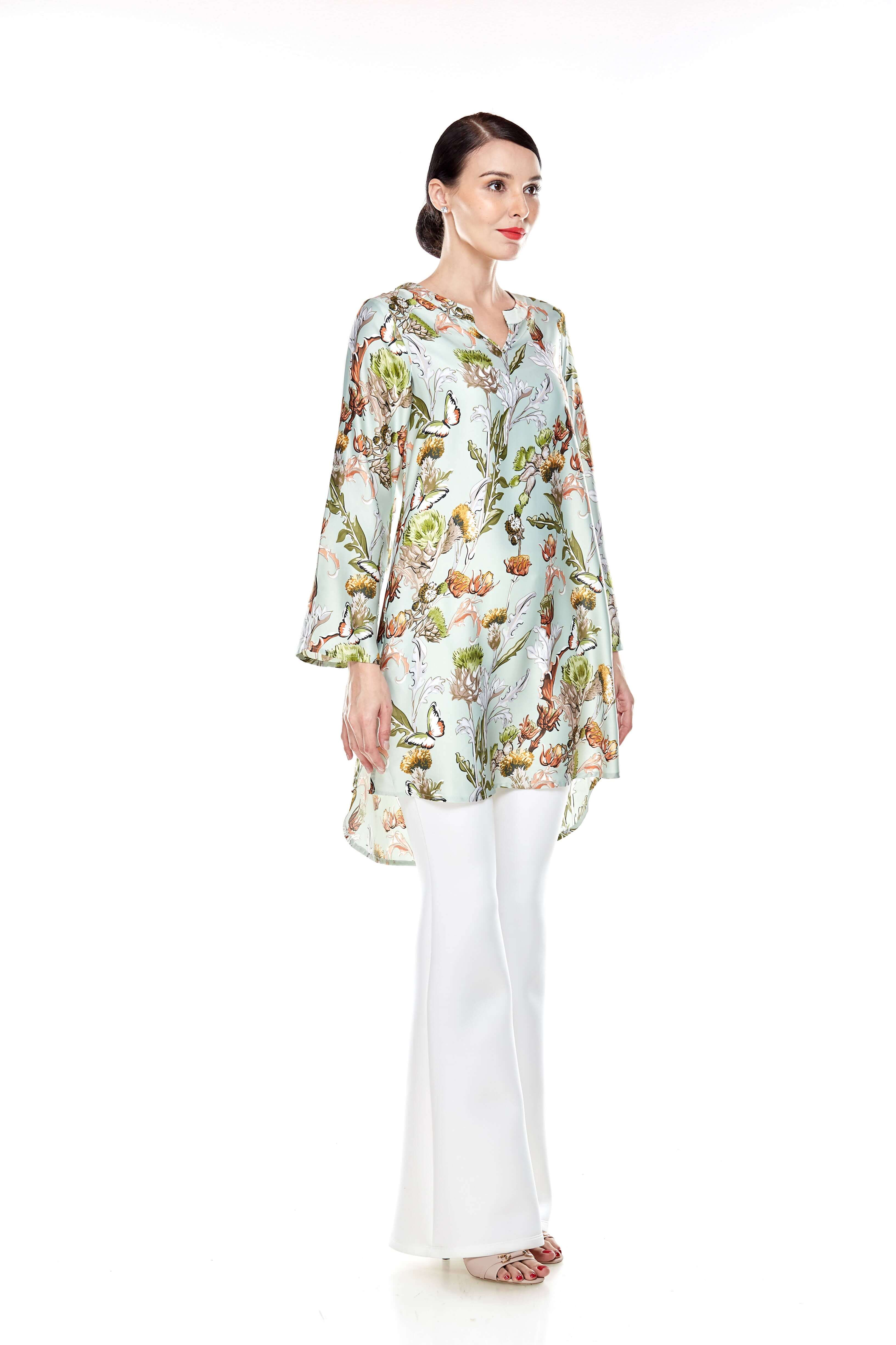 Green Printed Stand Collar Tunic (7)