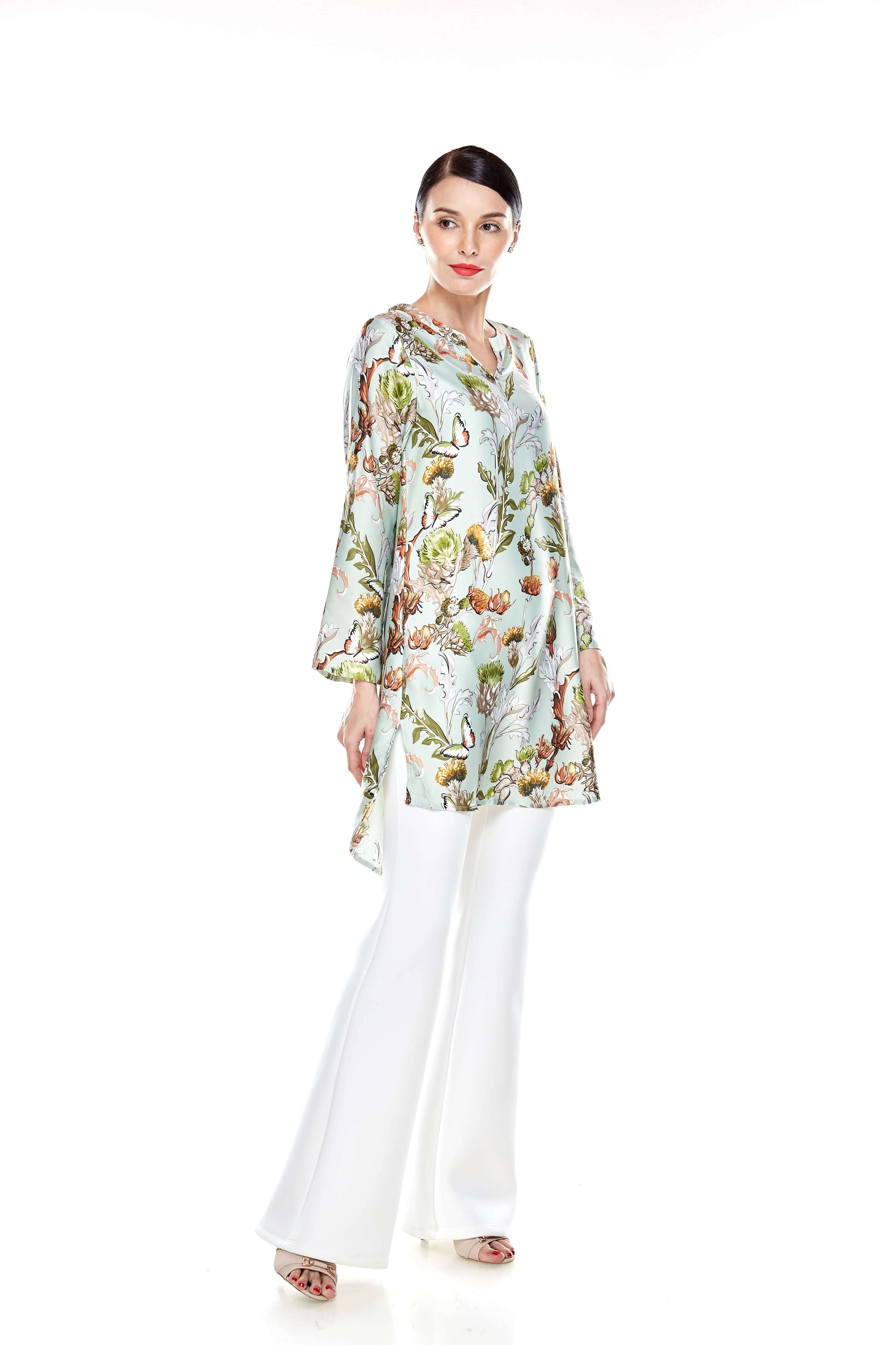 Green Printed Stand Collar Tunic (9)