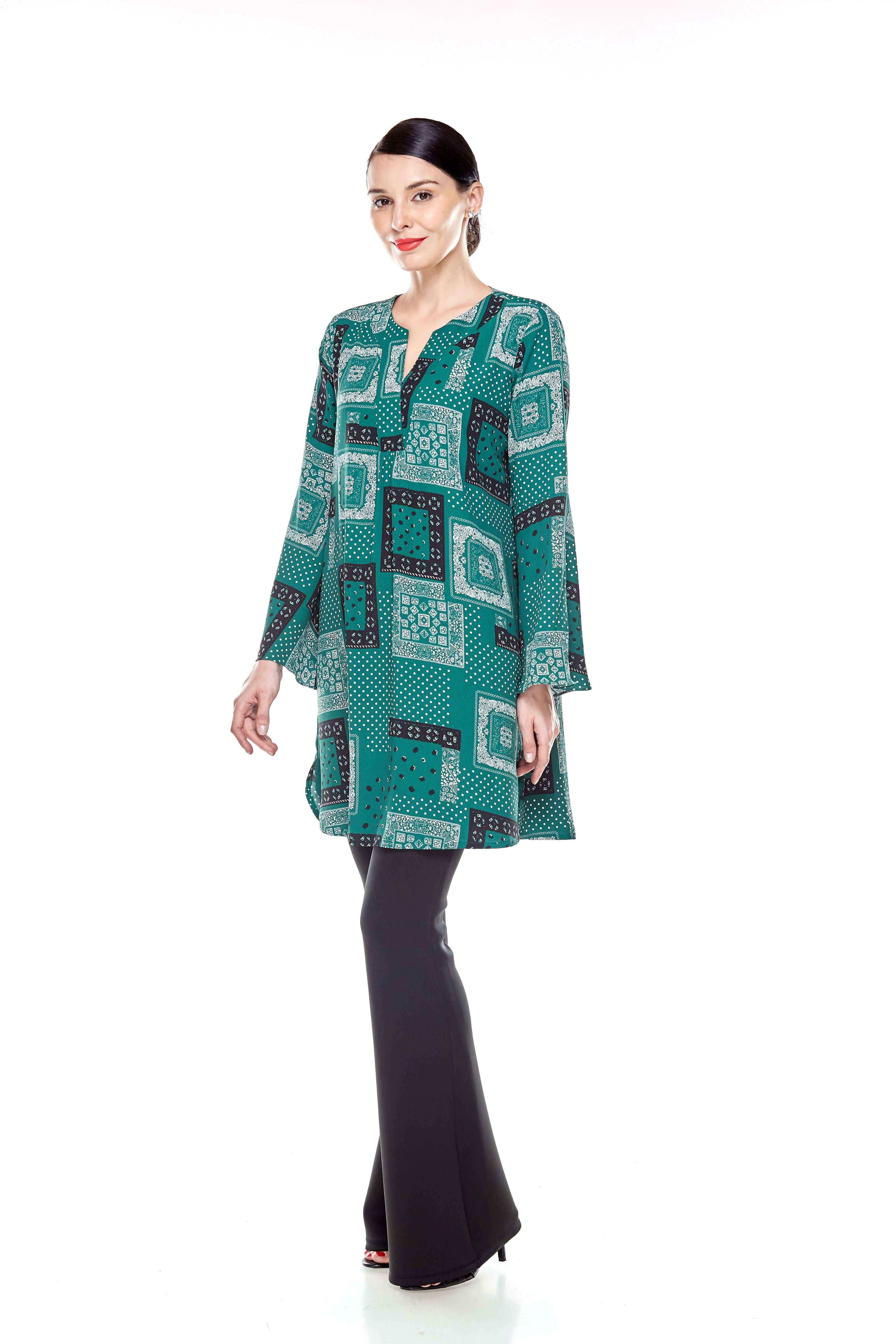 Leaf Green Printed Bell Sleeve Tunic (10)