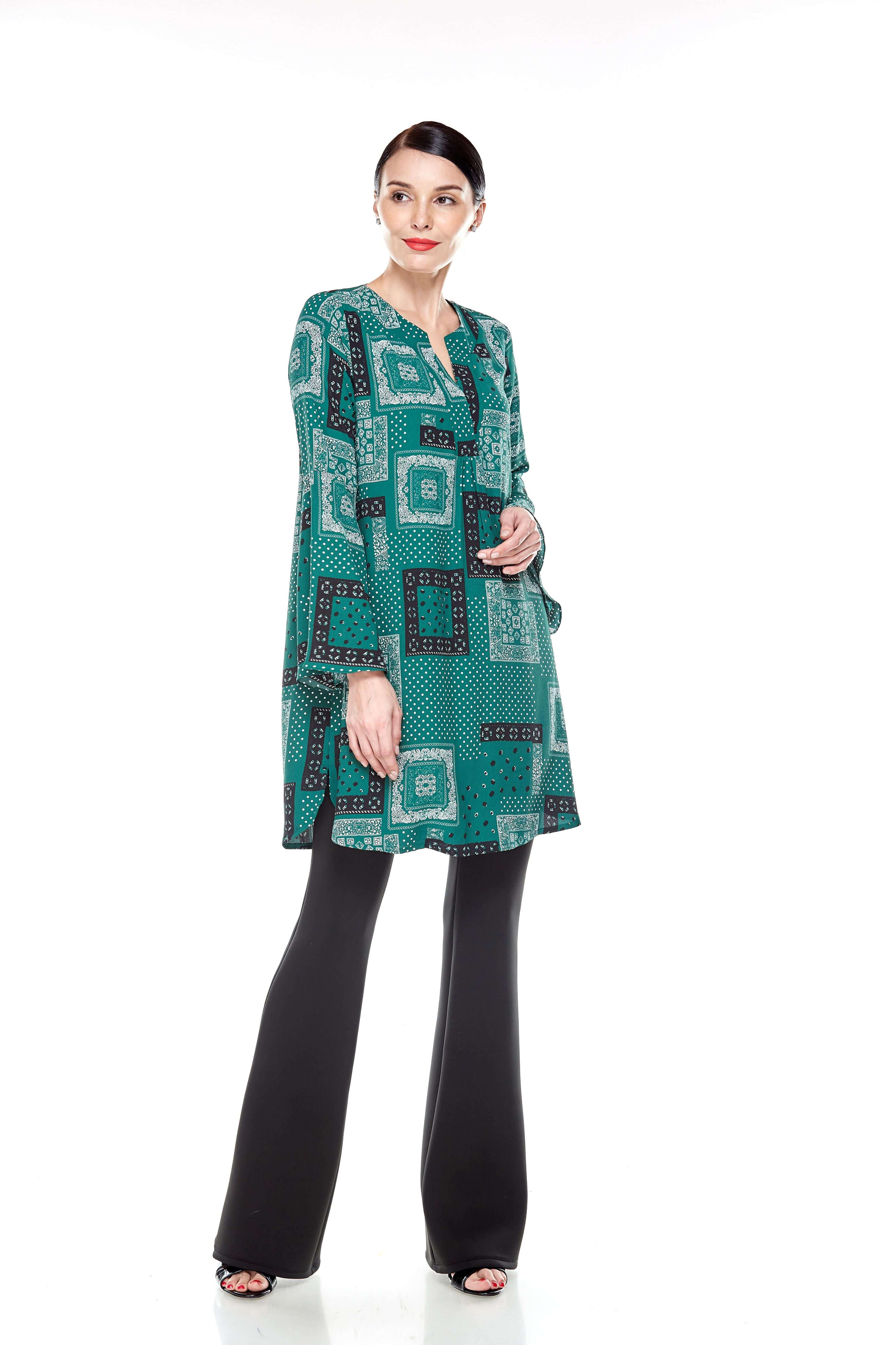 Leaf Green Printed Bell Sleeve Tunic (11)
