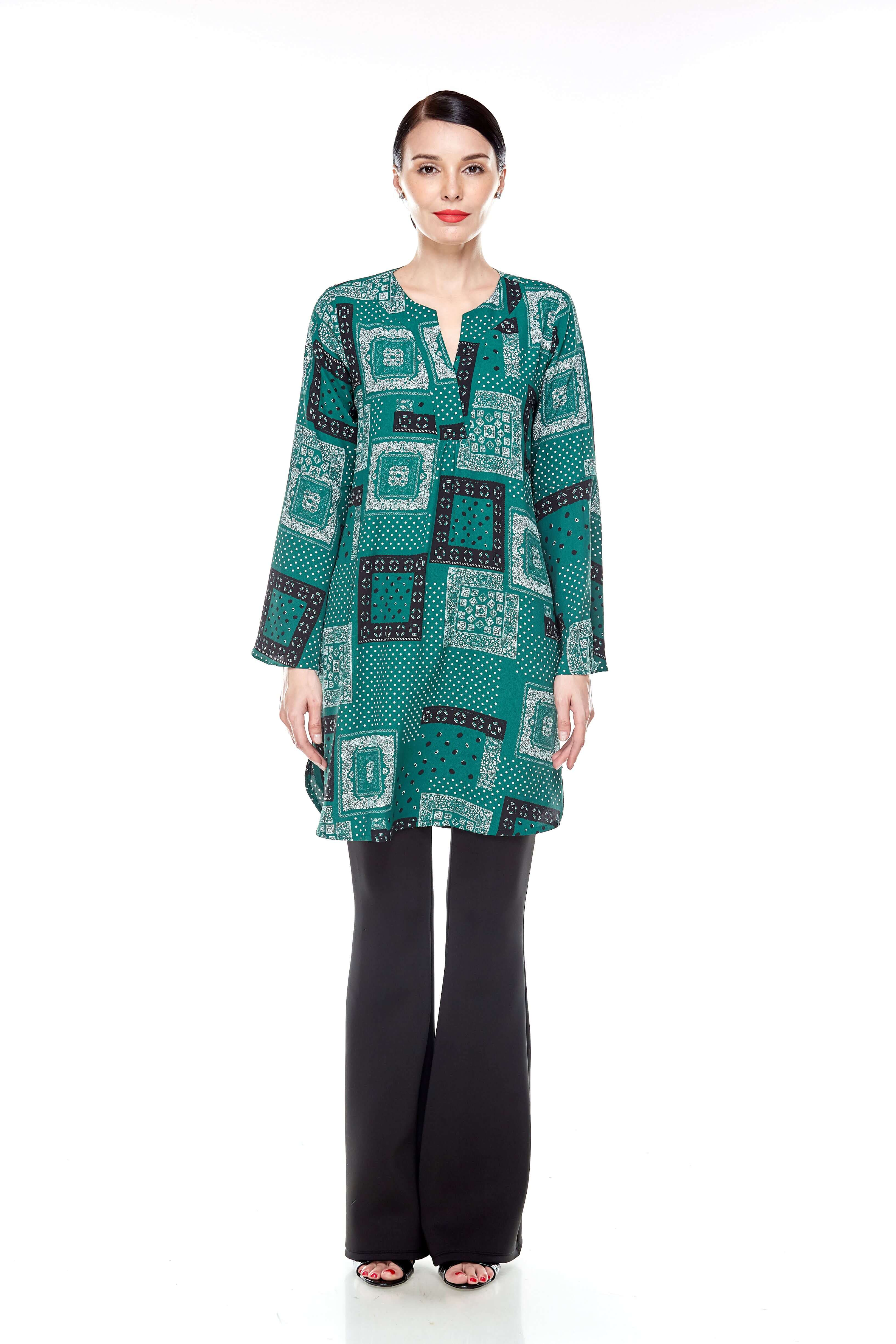 Leaf Green Printed Bell Sleeve Tunic (2)