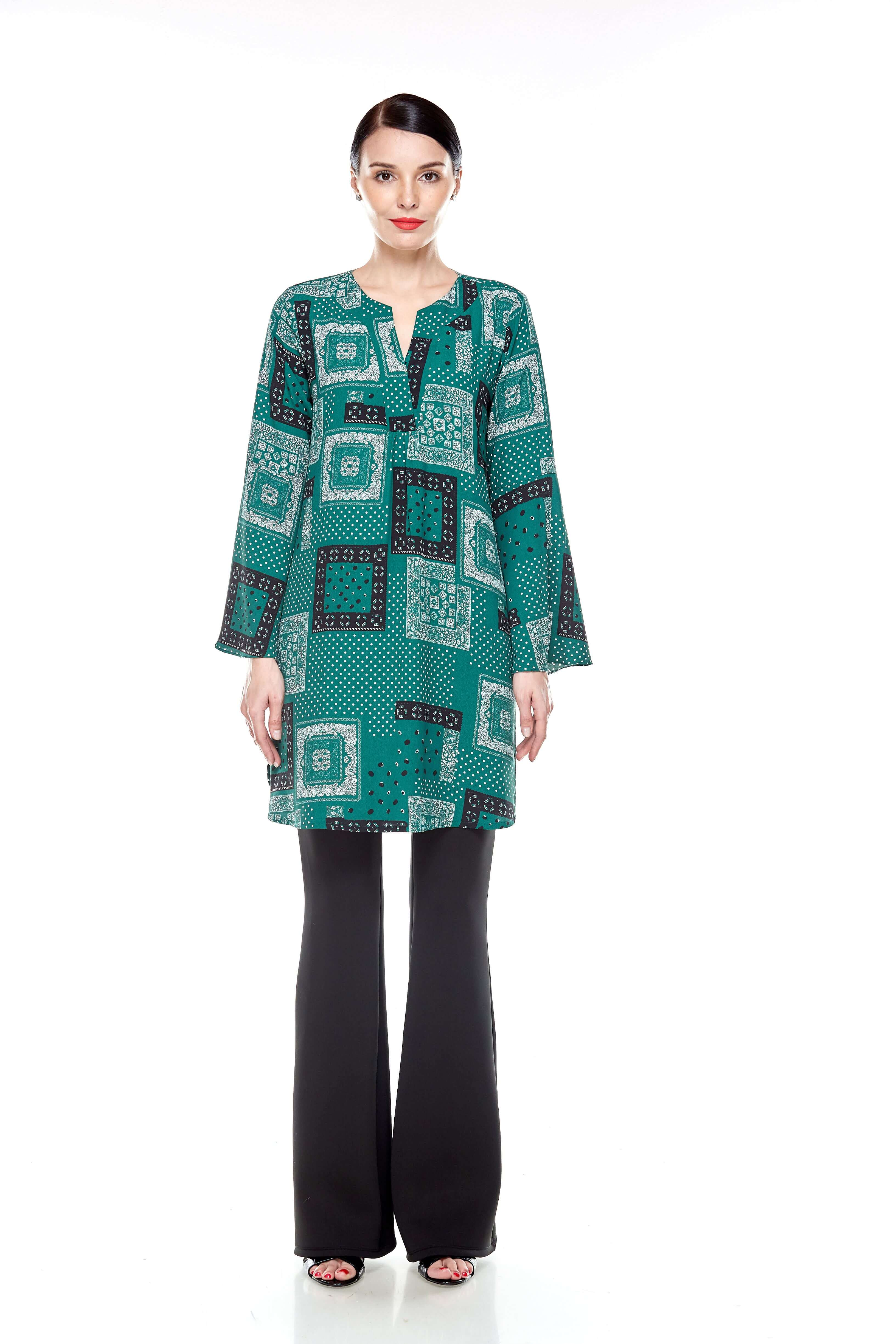 Leaf Green Printed Bell Sleeve Tunic (3)