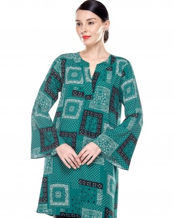 Leaf Green Printed Bell Sleeve Tunic