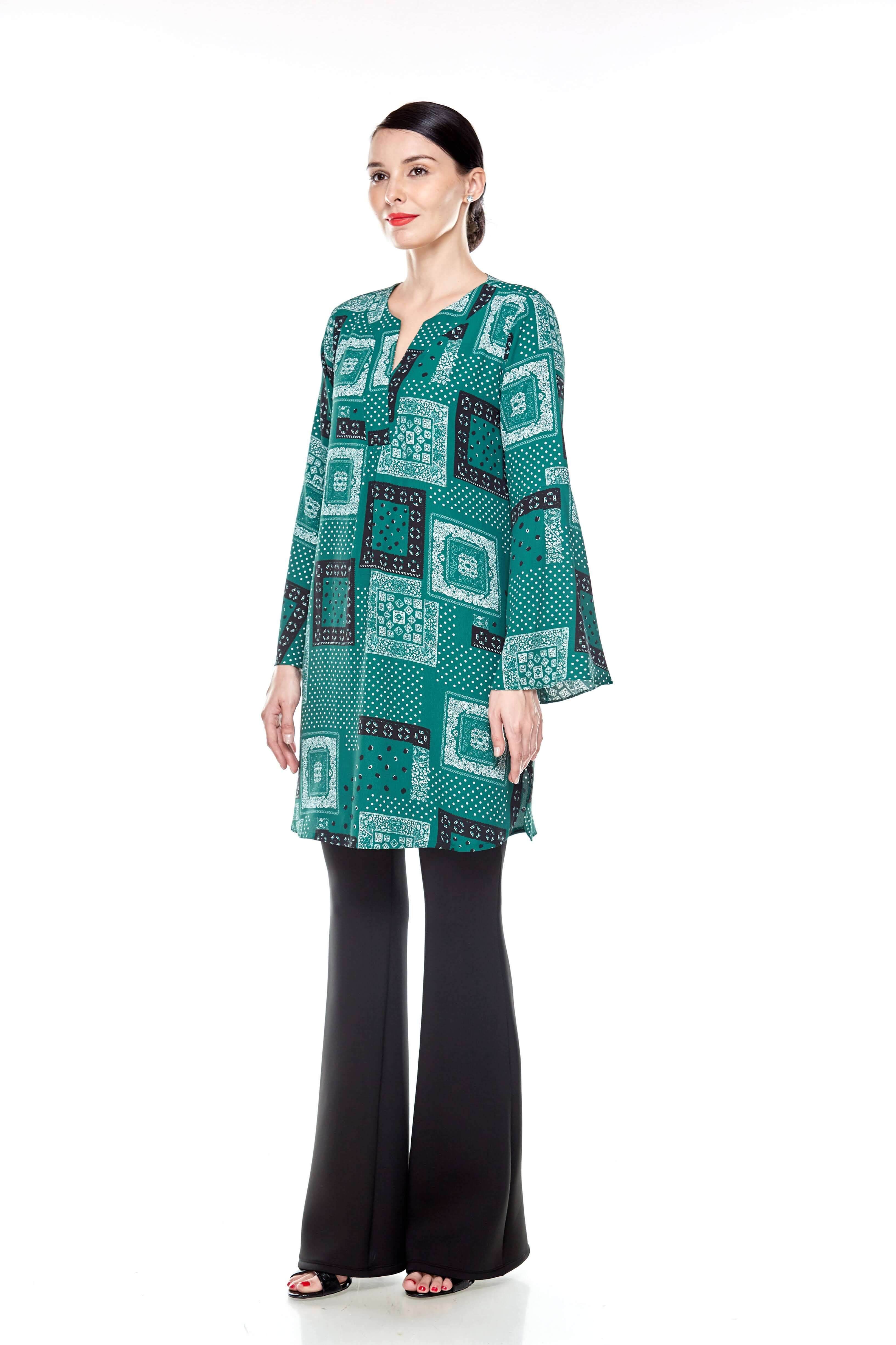 Leaf Green Printed Bell Sleeve Tunic (4)