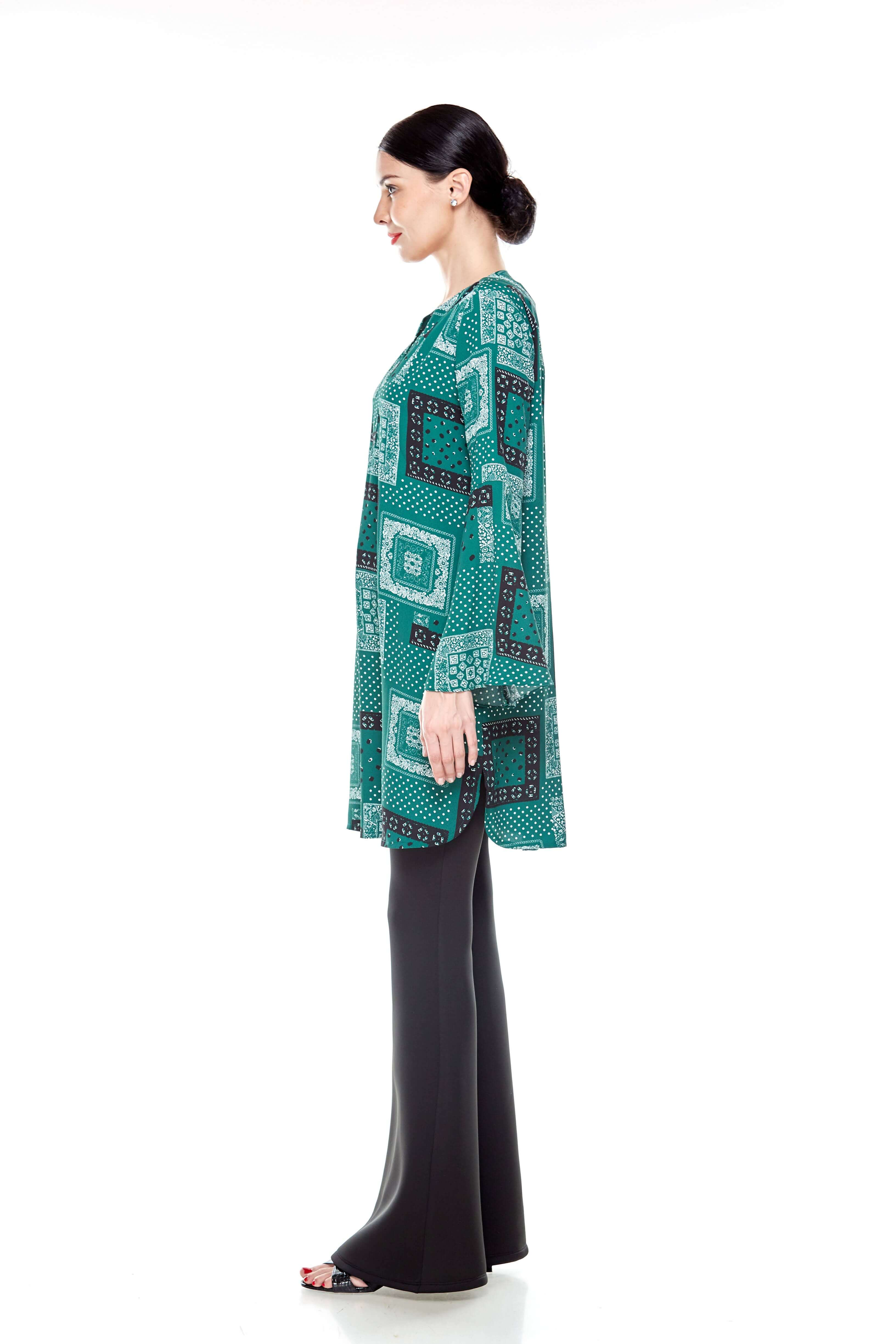 Leaf Green Printed Bell Sleeve Tunic (5)