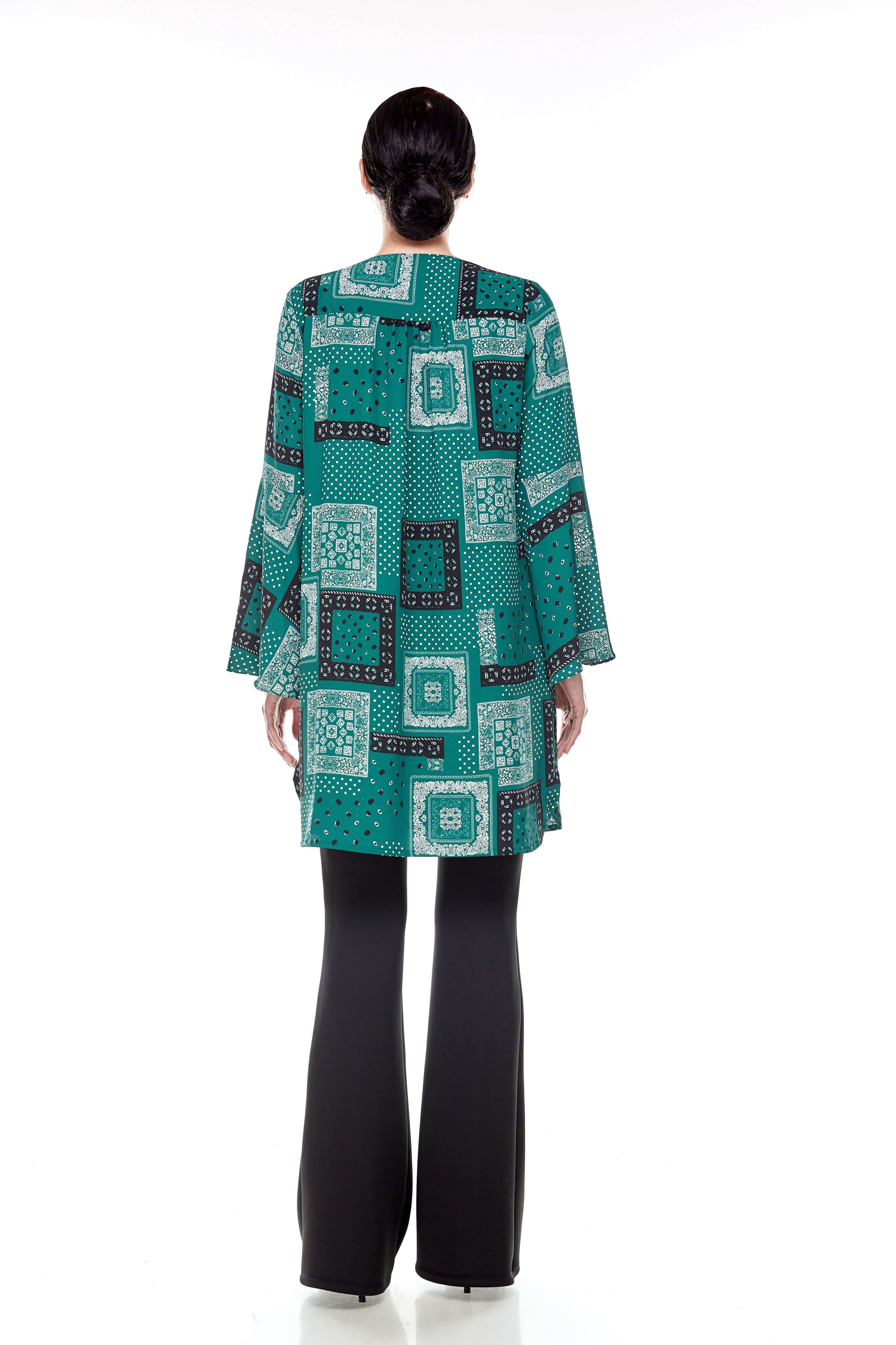 Leaf Green Printed Bell Sleeve Tunic (6)